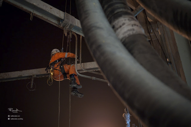 IRATA night shift Chirag Azerbaijan industrial rope access