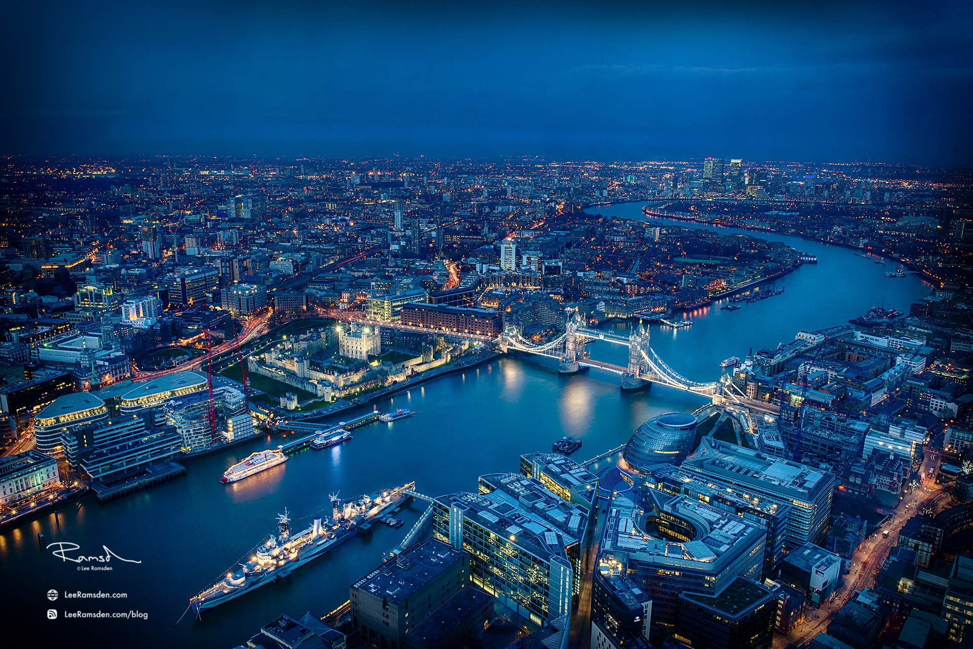 london View from the Shard HMS Belfast river Thames Tower Bridge