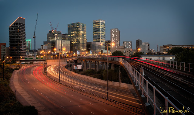 canary wharf London Photography Train line Long Exposure light trails