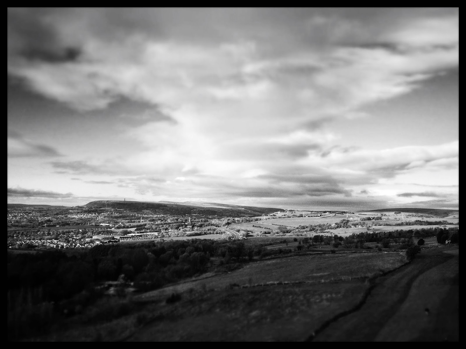 Lancashire, view, black and white iPhone photography