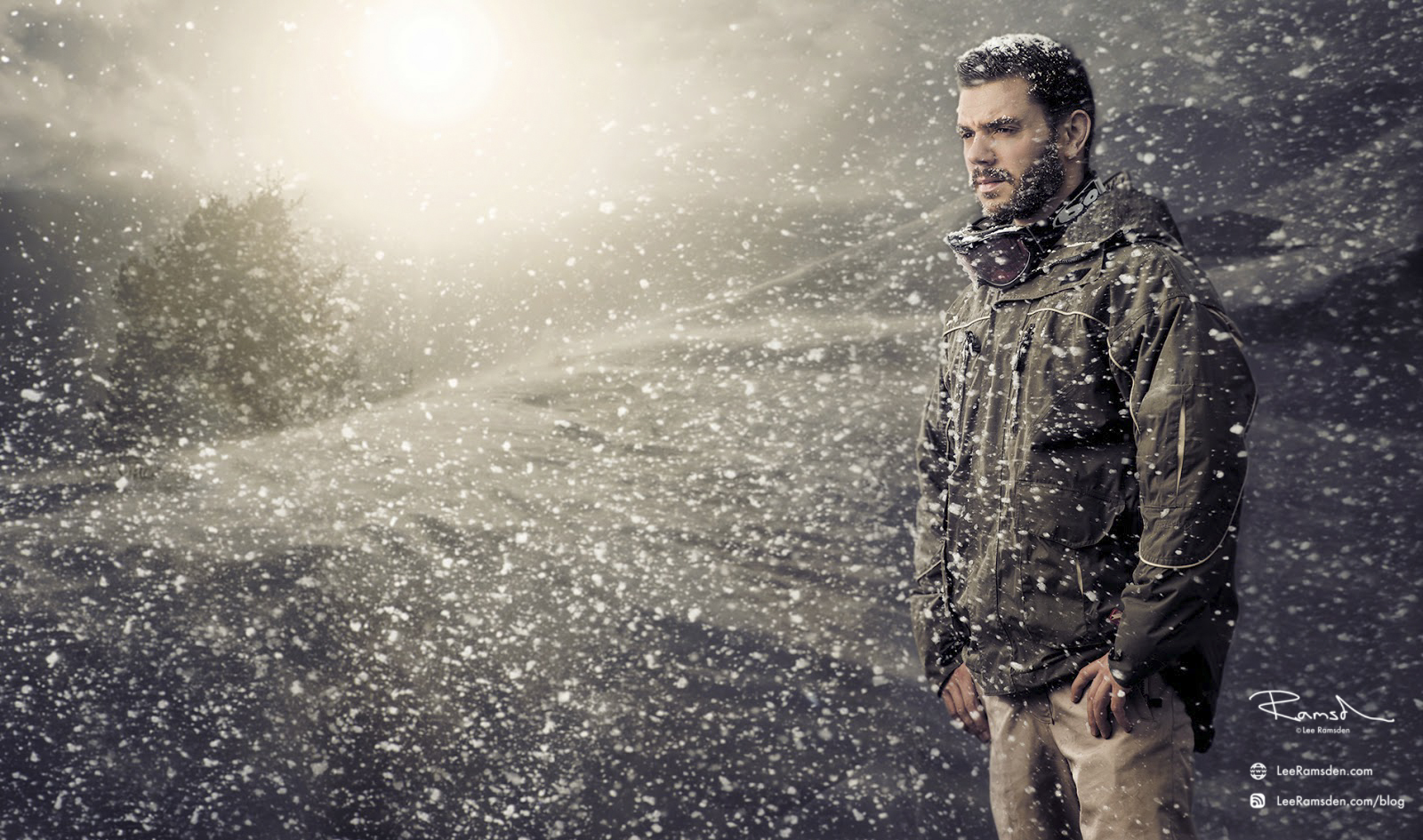 lee ramsden, snow, cold, photoshop, composite, ski, snow board, blizzard, professional, advertising, tree, sun, garden, snow machine, fake, frozen