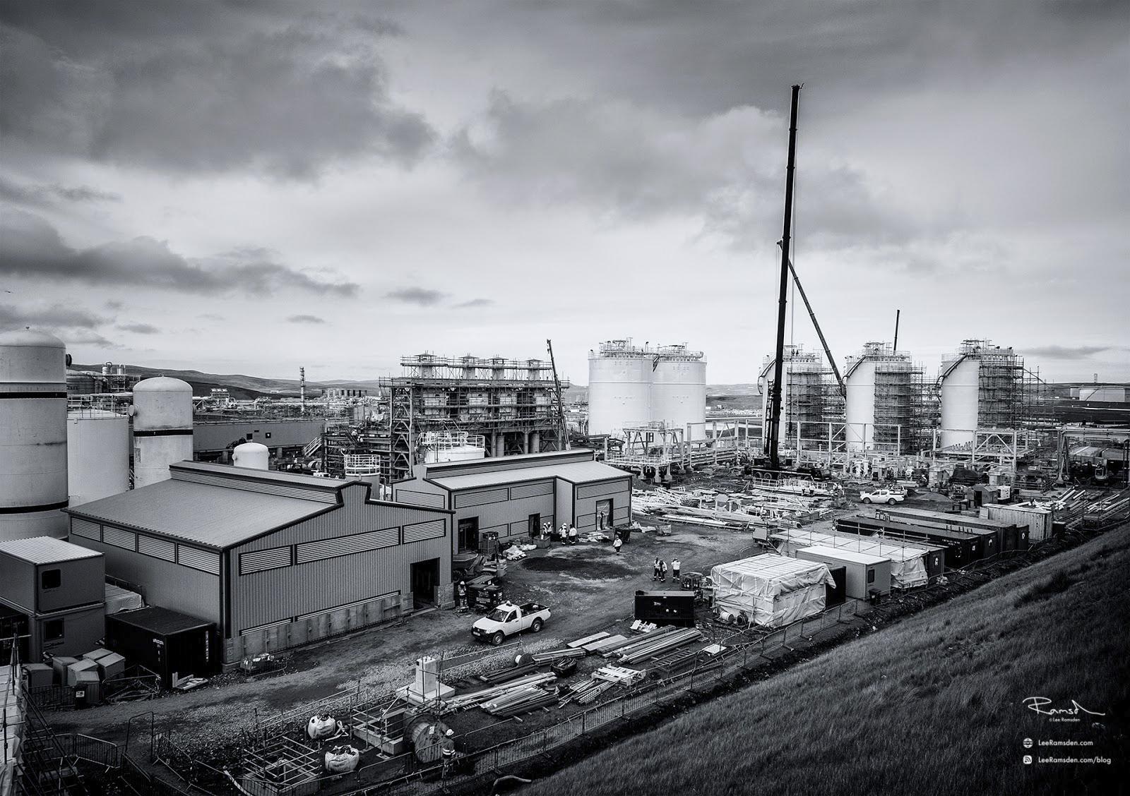 Shetland gas plant construction crane work in progress