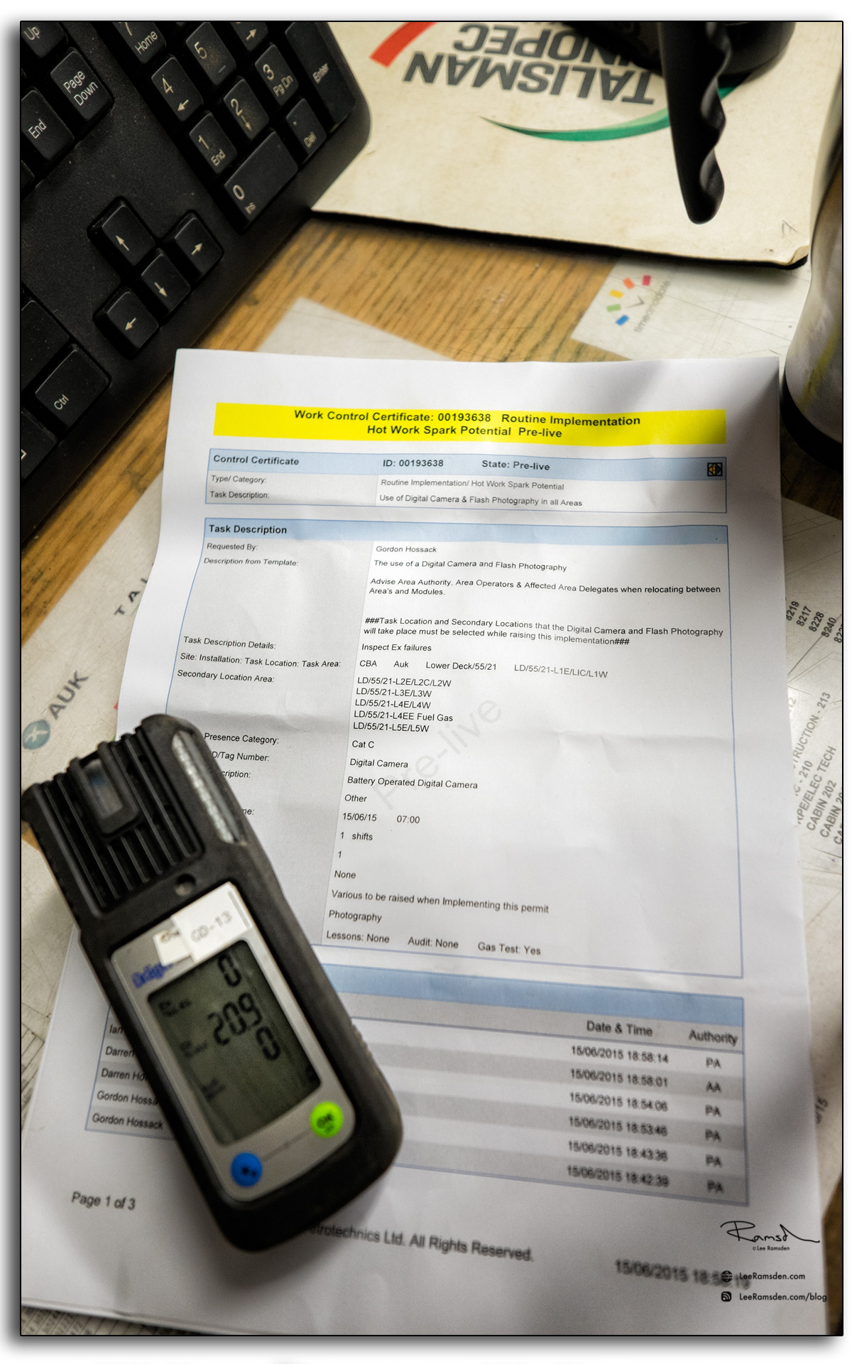 17 Hot Work Spark potential permit to work ISSOW Draggar gas monitor meter