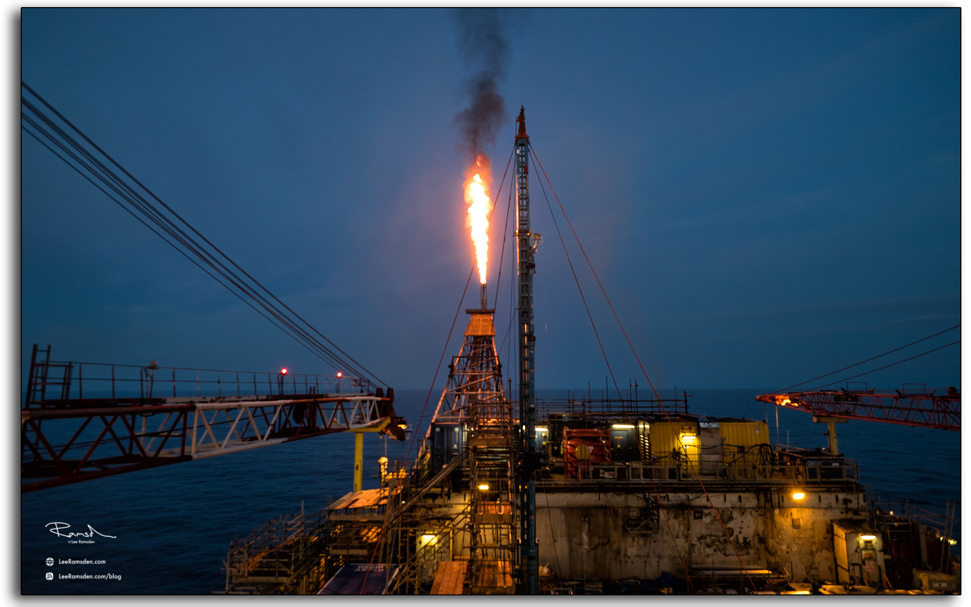 18 Talisman Auk platform flare on the pipe deck north sea oil price equal rotation down man redundancies