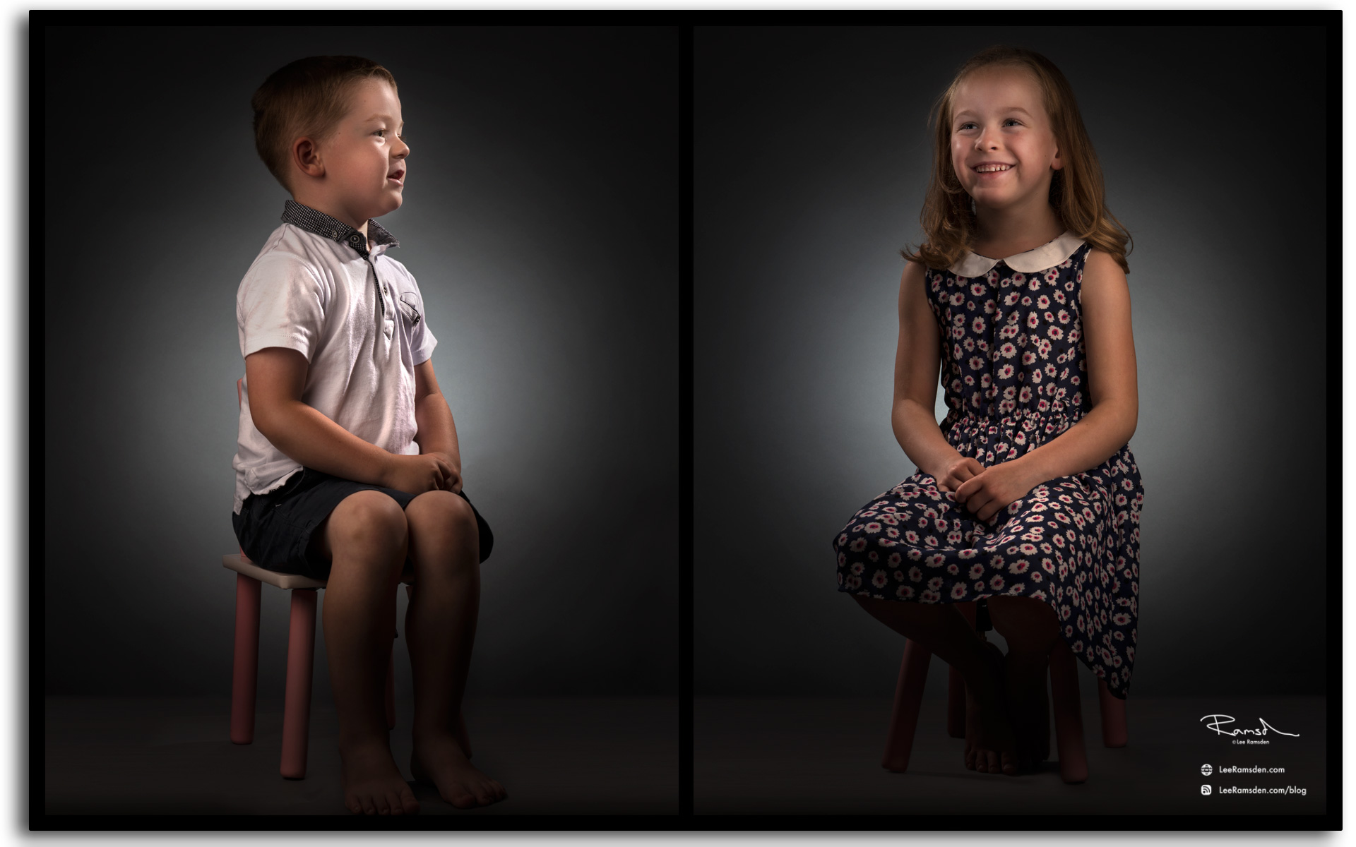 Brother and sister image moody lighting professional photographer Manchester