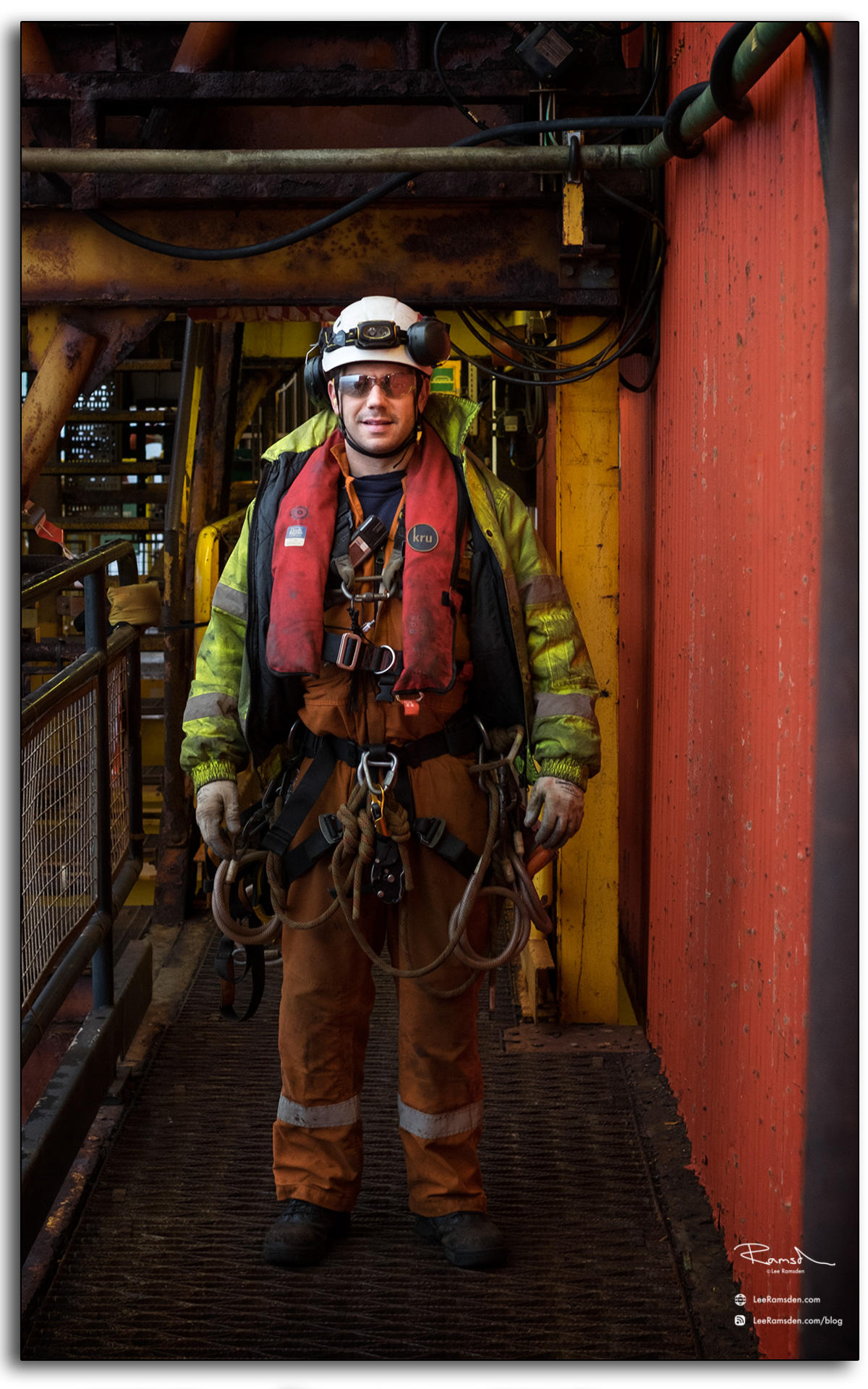 IRATA rope access technician equipment life jacket offshore life at sea Lee Ramsden