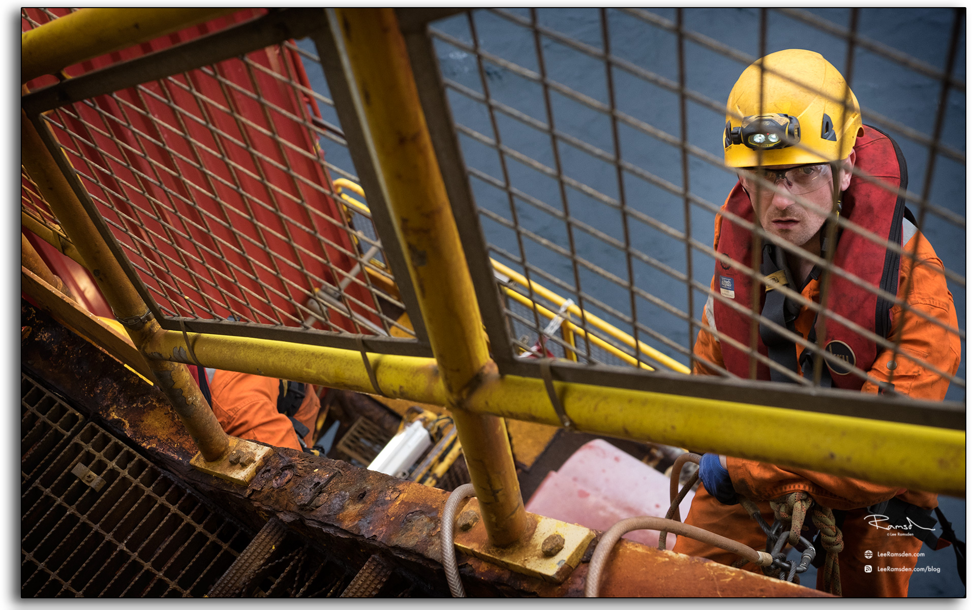 Gordon Hossack Offshore electrician at height north sea