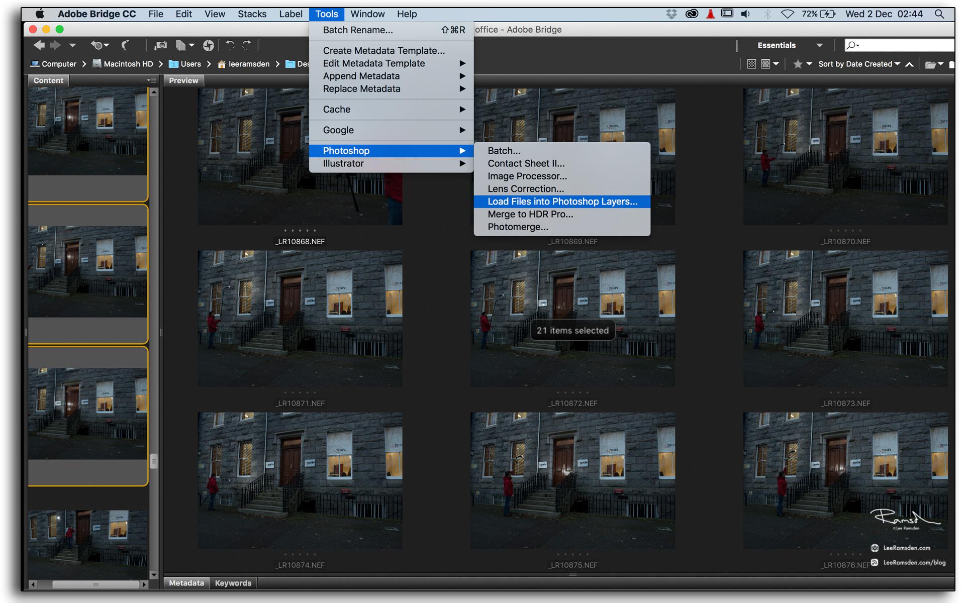 04 adobe bridge using photoshop tools loading layers