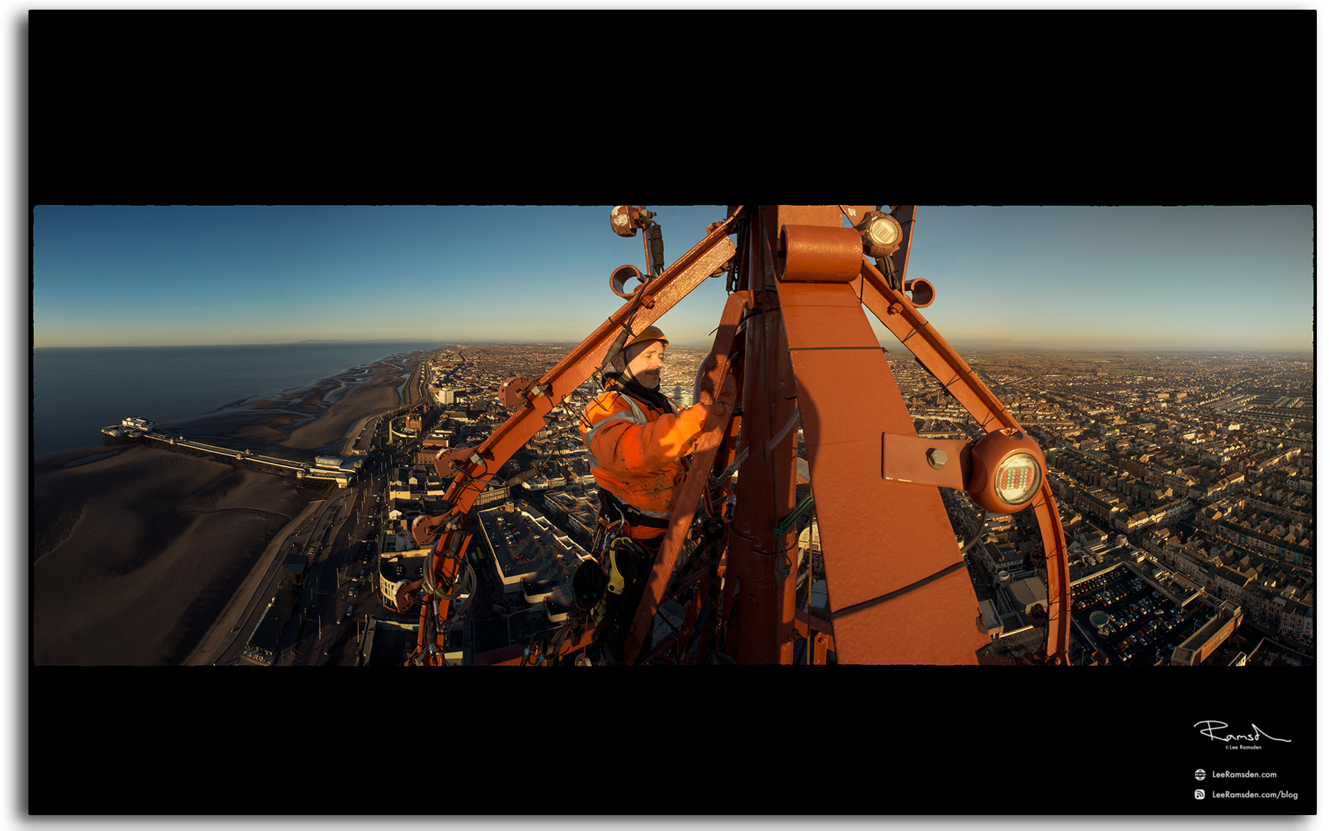 02 Wesley Berry Wez top of Blackpool Tower changing the light bulbs IRATA rope access photography by Lee Ramsden