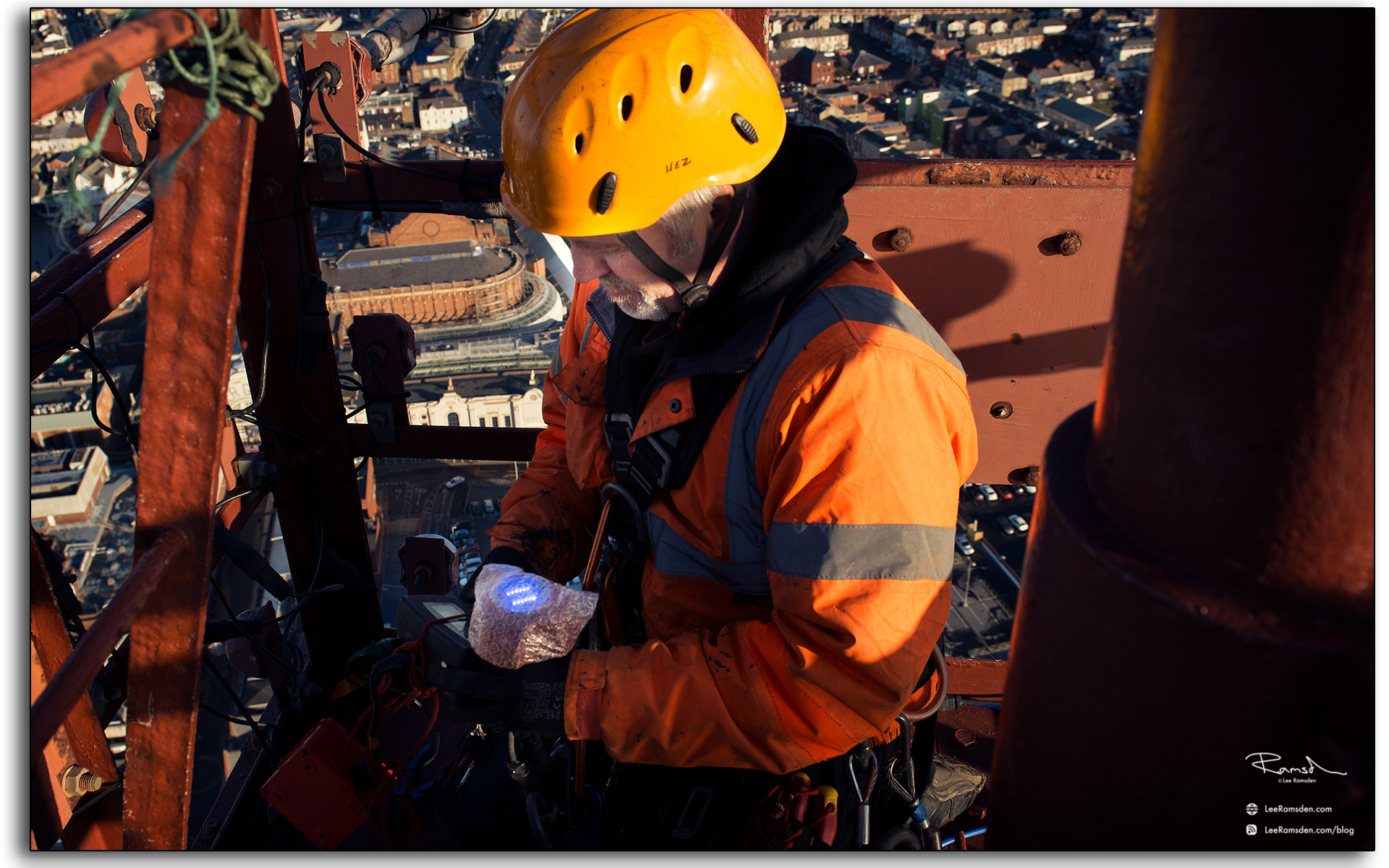 07 Wesley Berry Wez top of Blackpool Tower changing the light bulbs IRATA rope access photography by Lee Ramsden