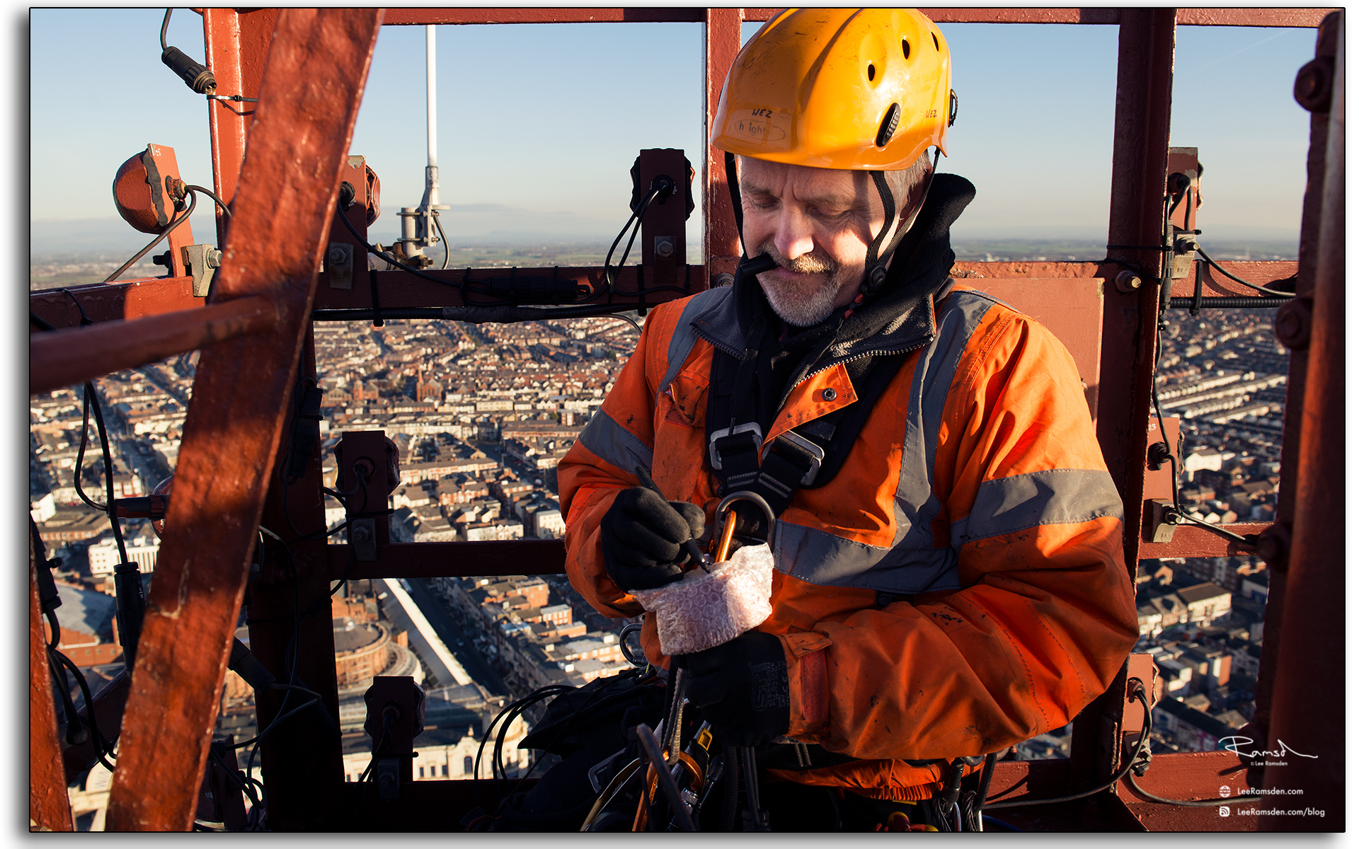 08 Wesley Berry Wez top of Blackpool Tower changing the light bulbs IRATA rope access photography by Lee Ramsden
