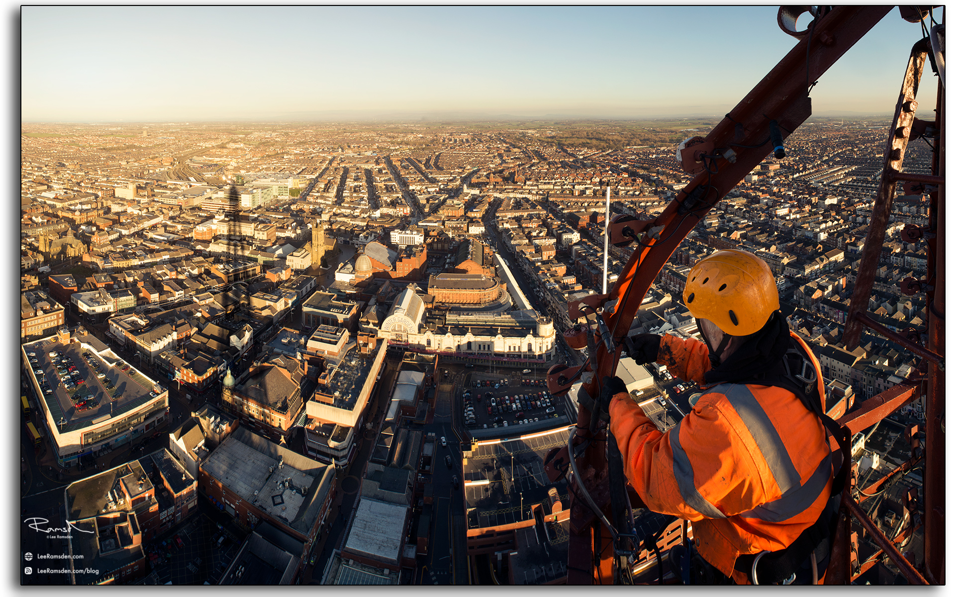 11 Wesley Berry Wez top of Blackpool Tower changing the light bulbs IRATA rope access photography by Lee Ramsden