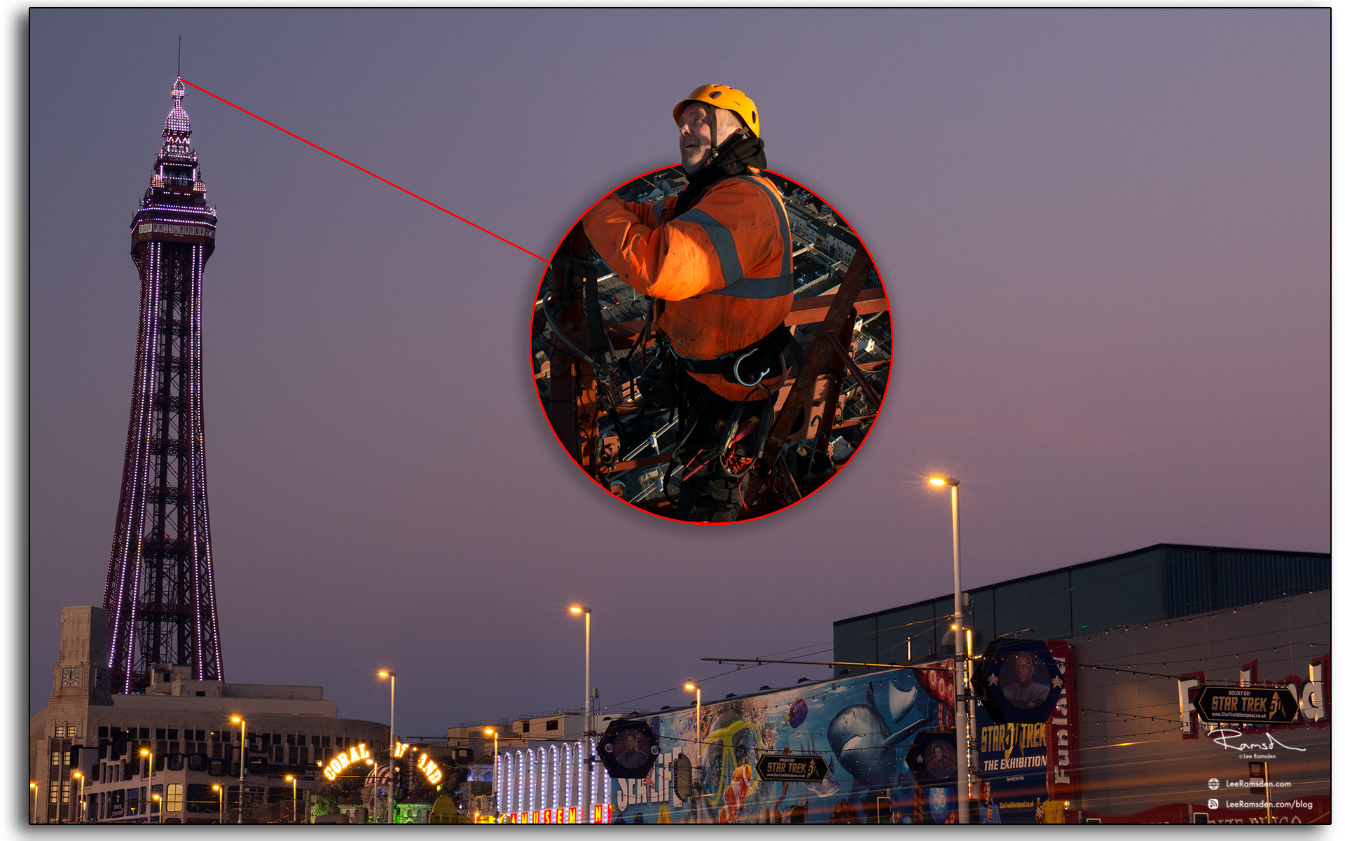 13 Wesley Berry Wez top of Blackpool Tower changing the light bulbs IRATA rope access photography by Lee Ramsden
