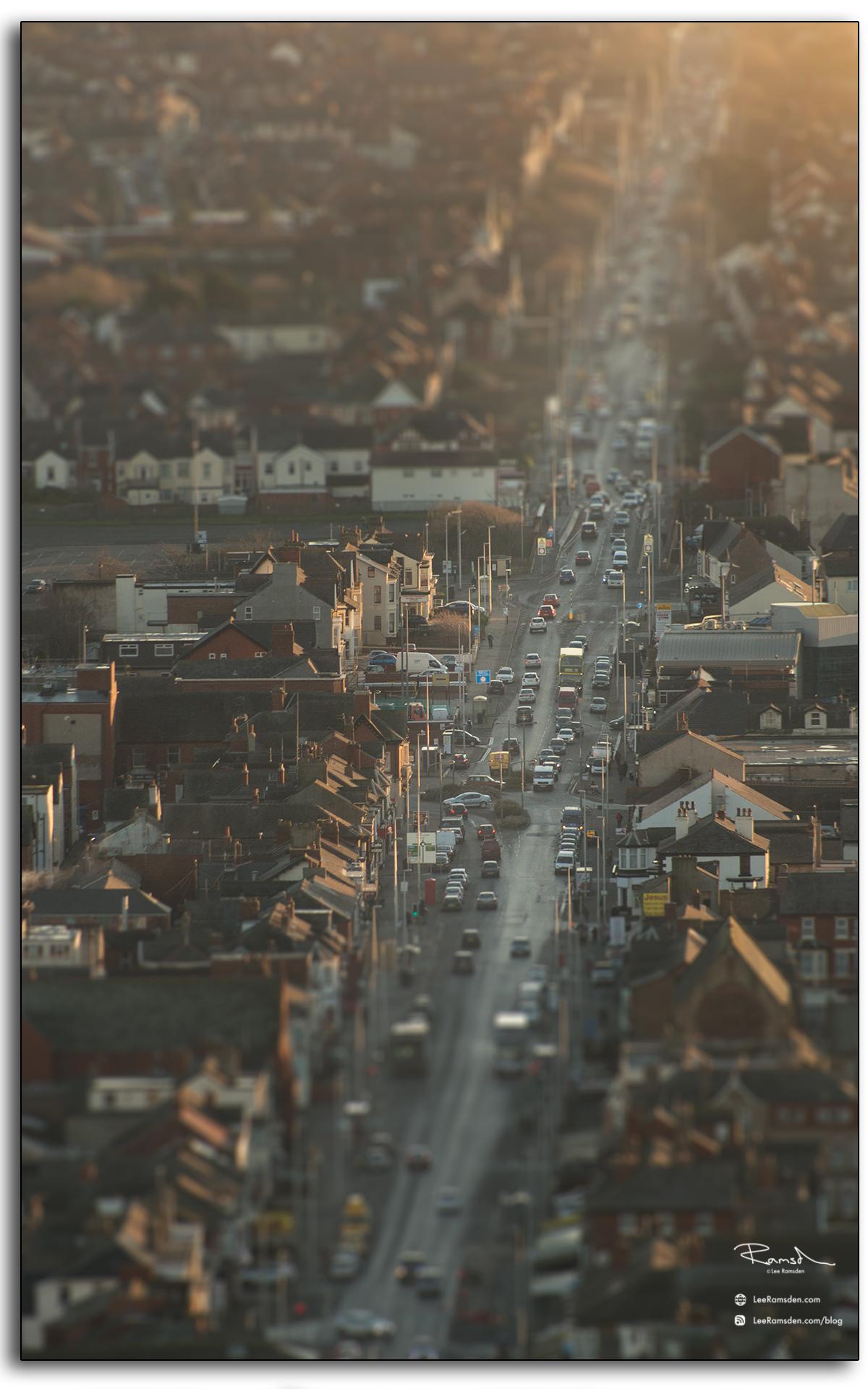 09 Blackpool Lytham Road Fylde B5262 Lancashire traffic roof tops view from top of the Tower England abstract photography by Lee Ramsden