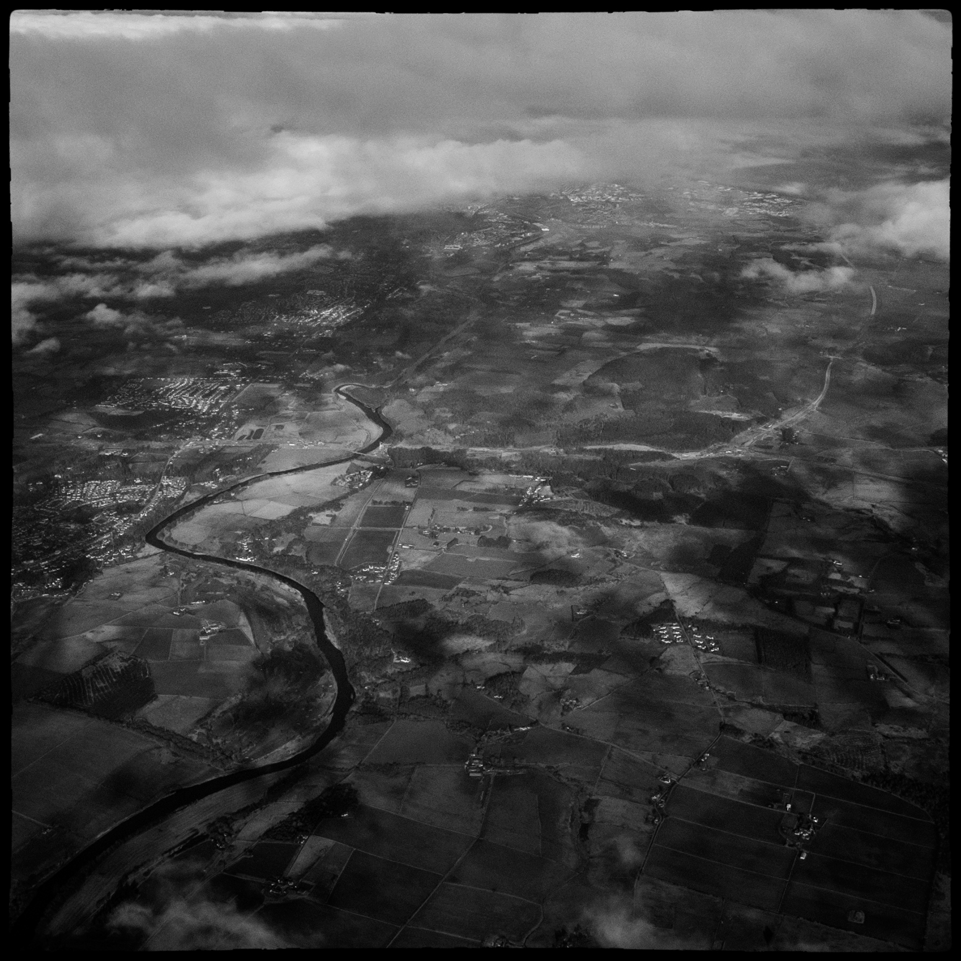 photo taken from an airplane of England country side