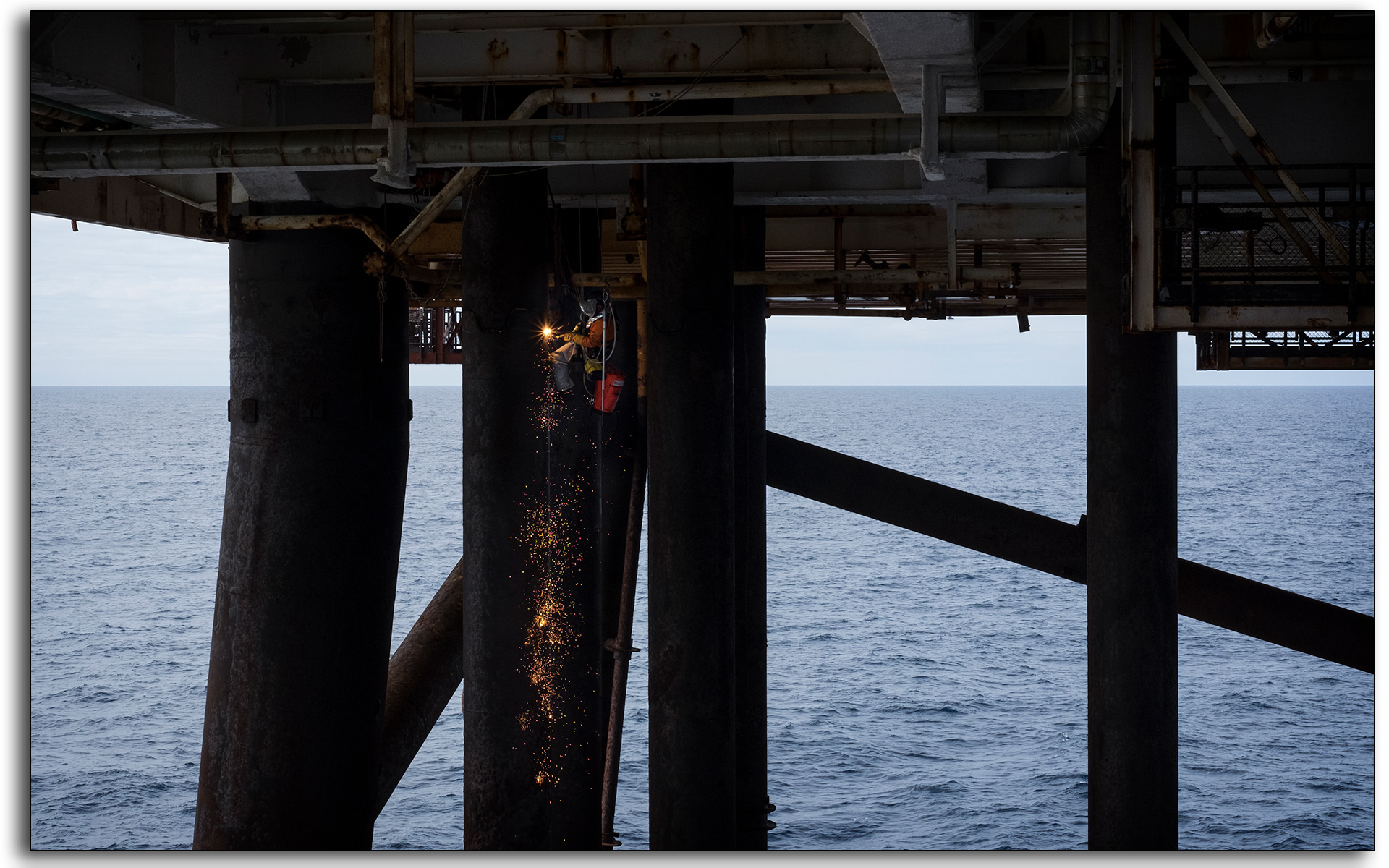 welding on the ropes, rope access, IRATA, abseiling, industrial, lee ramsden, BP Miller, oil and gas rig, north sea, offshore, employment, redundancies, oil and gas industry, BP, Petrofac.jpg