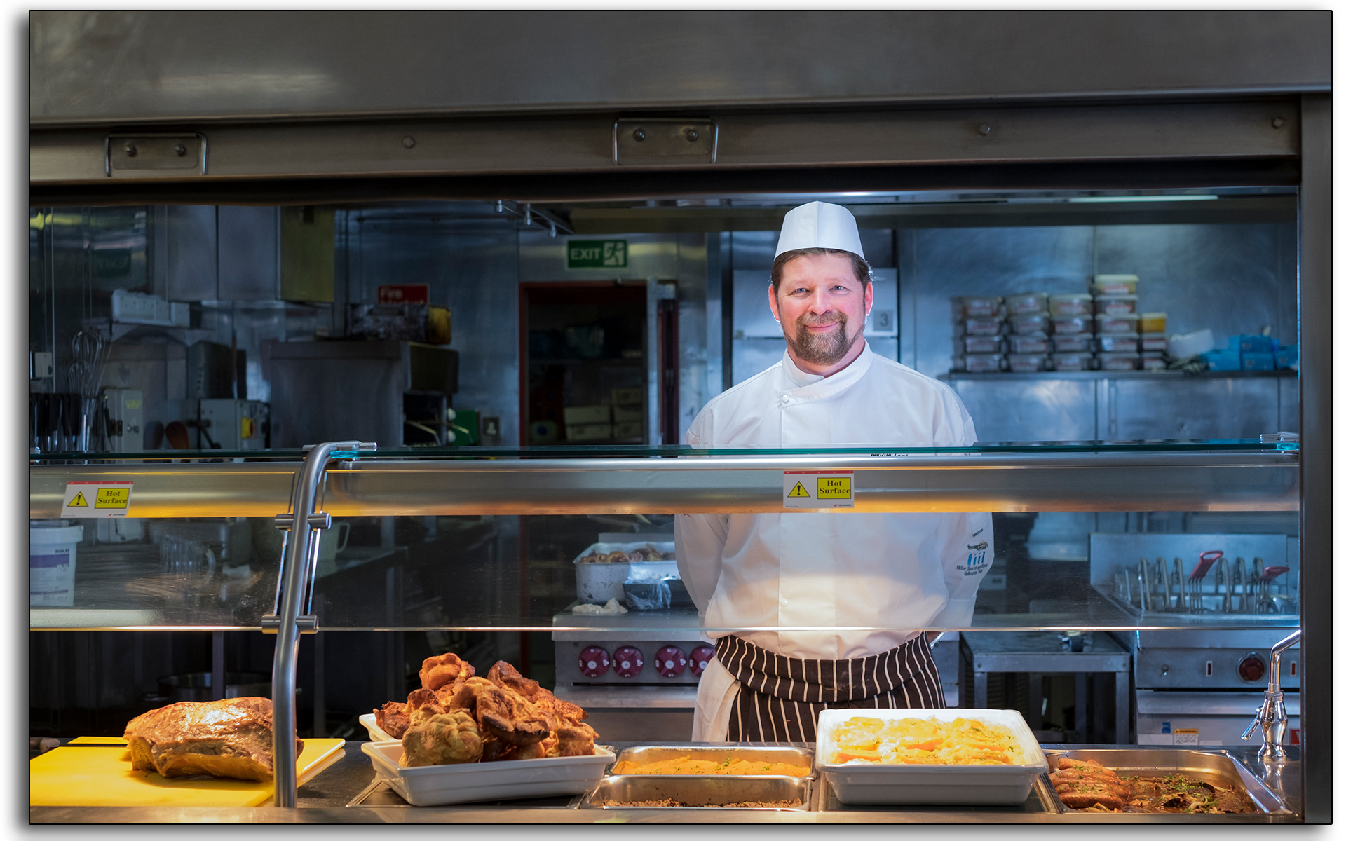 Catering, chef, campboss, hotel manager, incharge, cooks, kitchen, working, industrial, aramark, offshore, north sea, hospitality, oil rig, BP Miller, Petrofac, hotel, Photo by Lee Ramsden..jpg