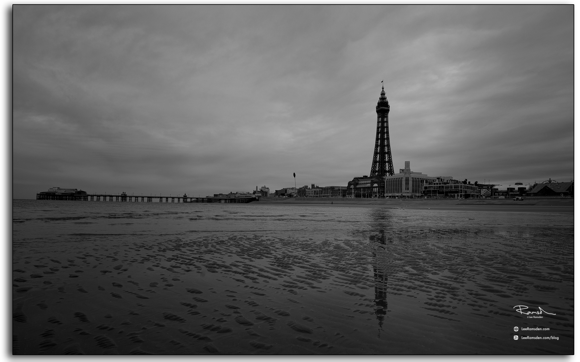 Blackpool, Blackpool tower, monochrome, black white, reflection, Lancashire photographer, Lee Ramsden