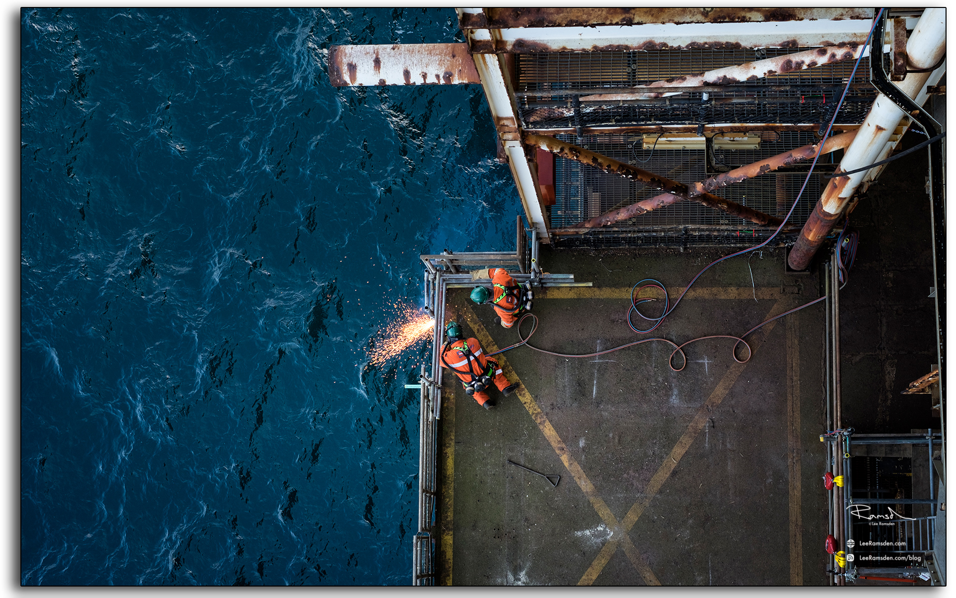 blog, Rig burning, welding, oxygen, acetylene, cutting, BP Miller, Decommissioning, industrial, removal, Saipem, Petrofac, BP, Lee Ramsden, hotwork 01