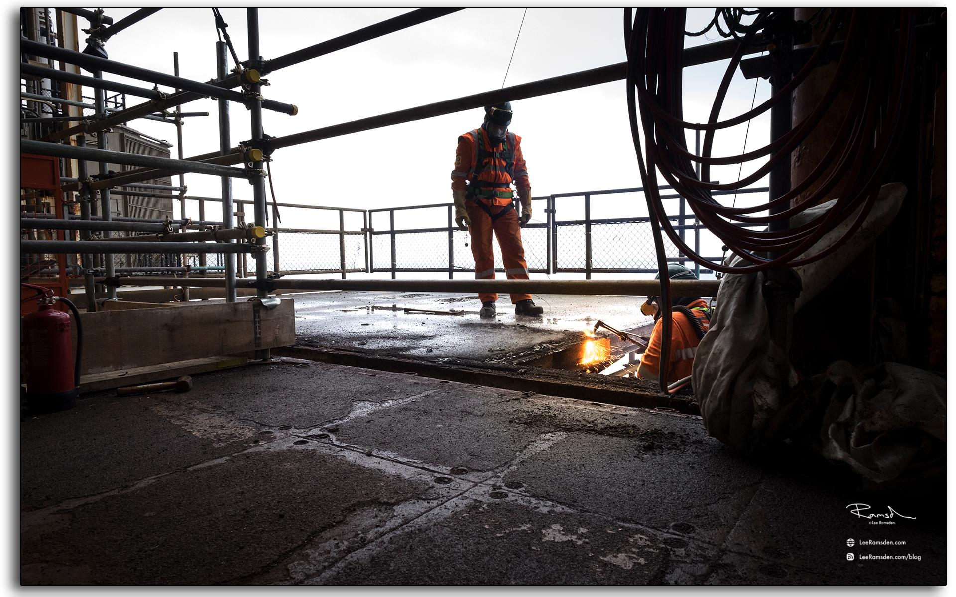 blog, Rig burning, welding, oxygen, acetylene, cutting, BP Miller, Decommissioning, industrial, removal, Saipem, Petrofac, BP, Lee Ramsden, hotwork 02