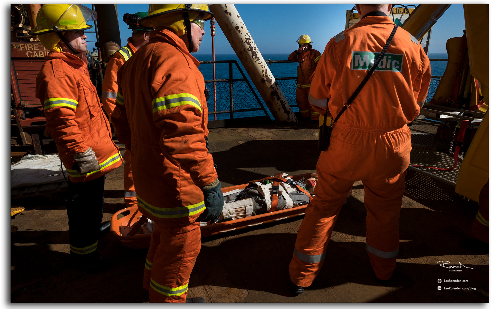 casuilty on a stretcher, medical team, responding, offshore, oil and gas industry.