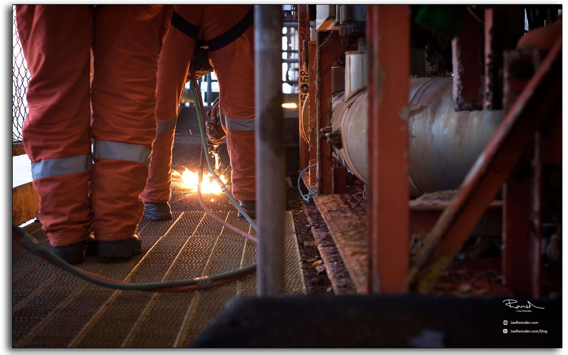BP Miller, decommissioning, Petrofac, Saipem, BP, buring, oxygen, acetylene, rig removal, industrial, north sea, photo taken by Lee Ramsden