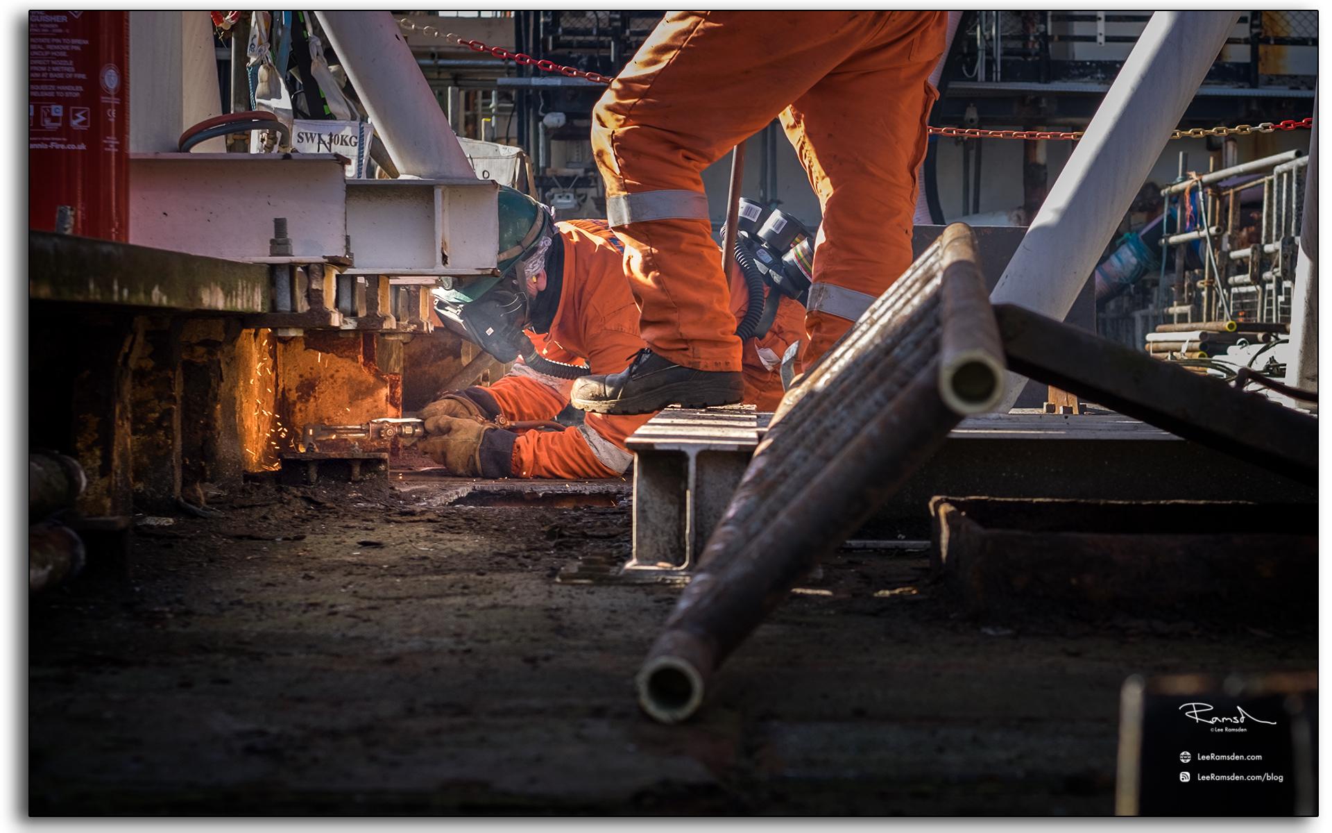 BP Miller, decommissioning, Petrofac, Saipem, BP, buring, oxygen, acetylene, rig removal, cutting, burning, industrial, north sea, photo taken by Lee Ramsden