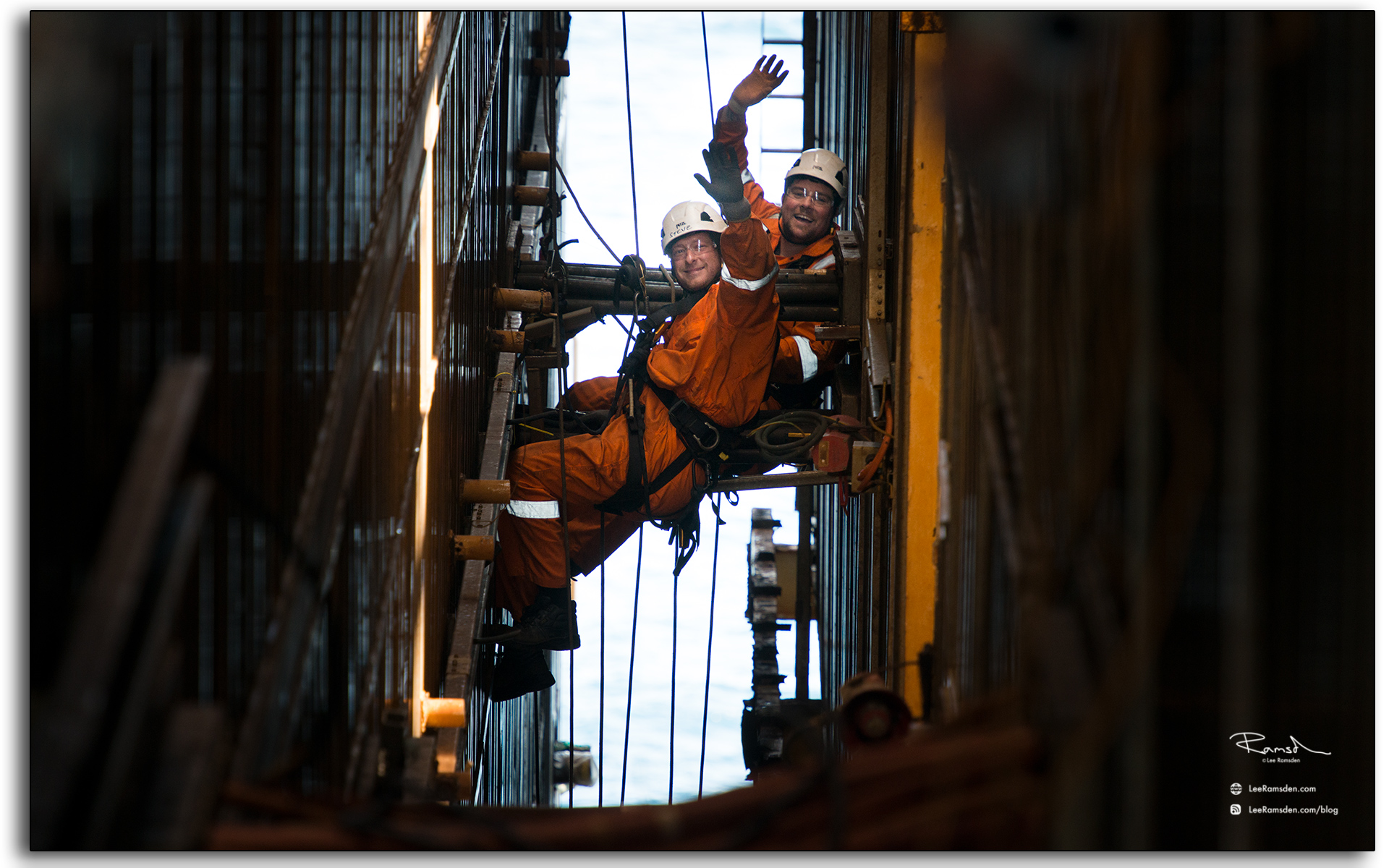 Happy rope technicians, rope access, IRATA, working at height, oil and gas industry, industrial photographer, Lee Ramsden