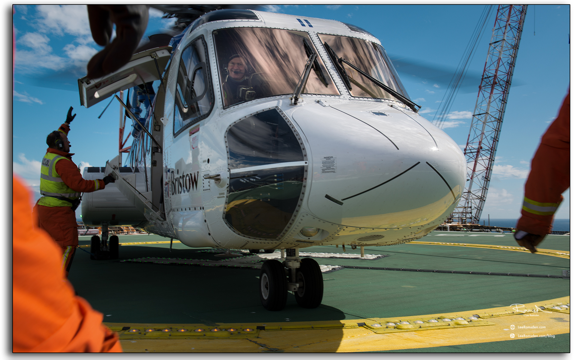 Sikorsky S92, landed on North Sea oil and gas, installation.