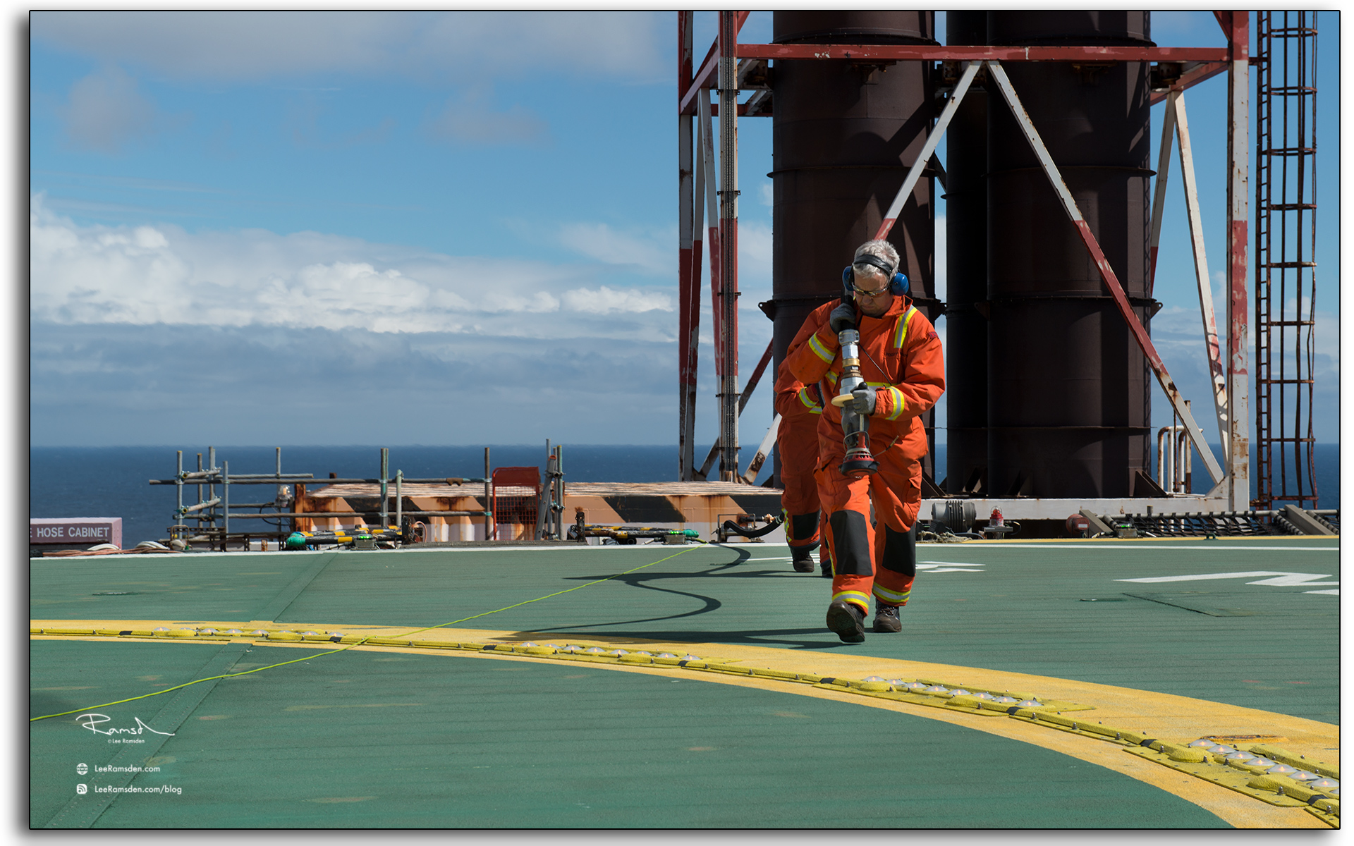 Helicopter refuelling operations, North Sea oil and gas industry.