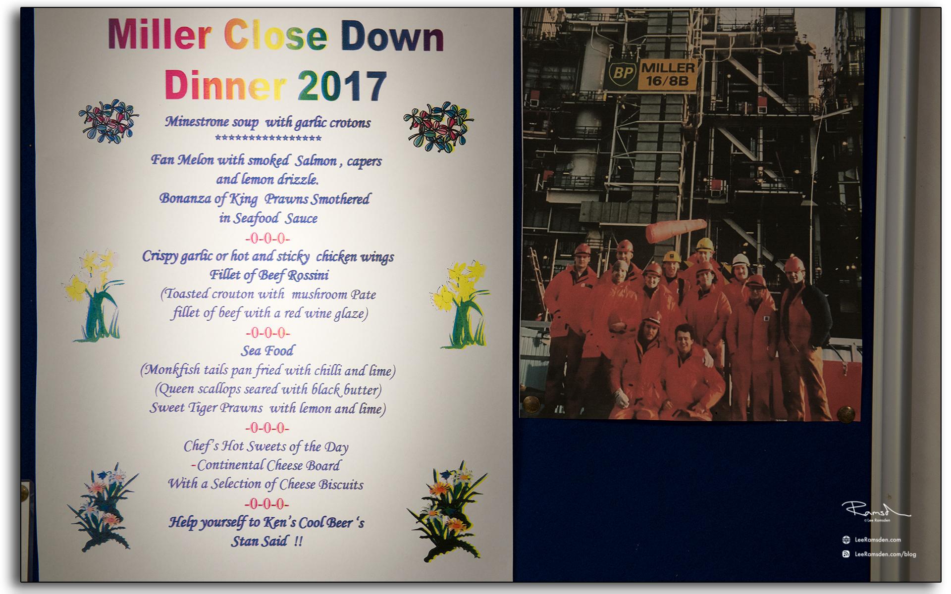 01, BP, Miller, end of life, Decommissioning, Aramark, last supper