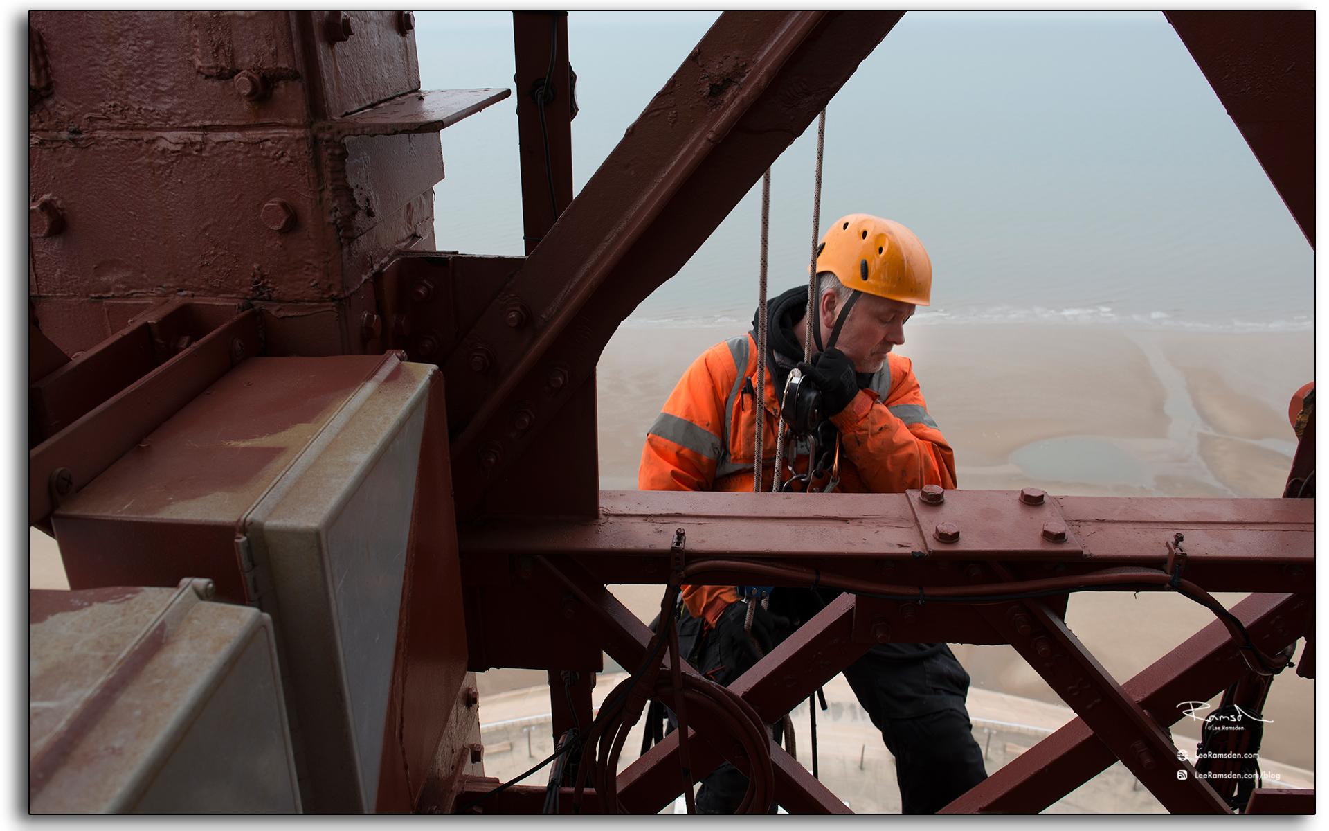 Blackpool tower, Wez, IRATA rope access, climbing, electrician
