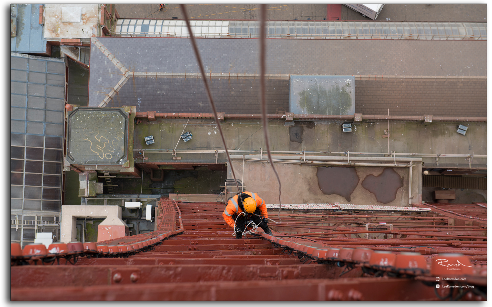 Blackpool tower, abseiling, industrial worker, in orange ppe, LEE RAMSDEN