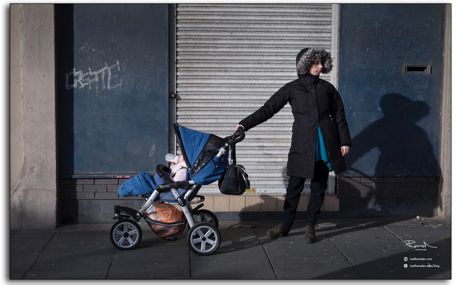 Single mother, pushing pram, baby, rough town, Blackpool, south shore, lee ramsden, professional photographer, reportage