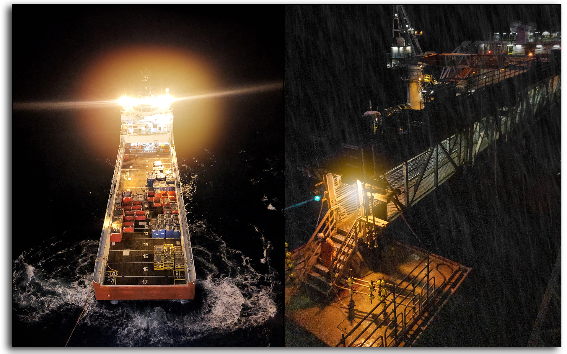 Bridge, gangway, raining, cold, worker, wet, Oil and gas, oil rig, Scotland, industry, industrial, Mariner, workers, construction, vessel, shipping, marine, delivery, boat.jpg