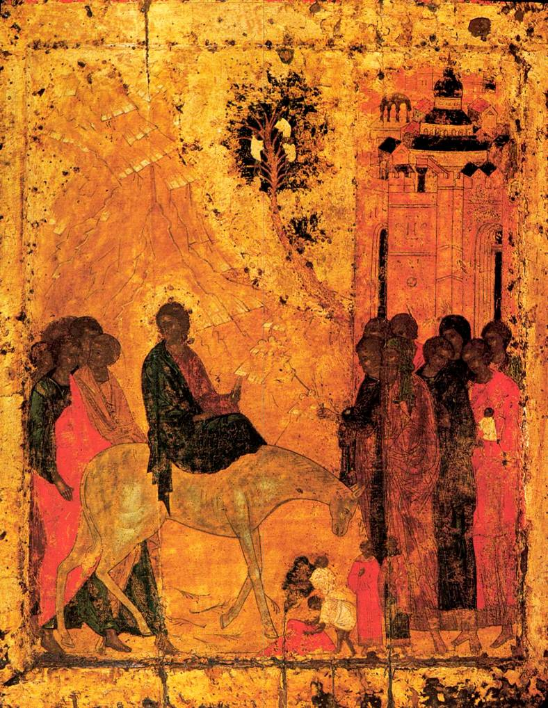 Triumphal Entry into Jerusalem,  byzantine icon (Cathedral of the Annunciation, Moscow)