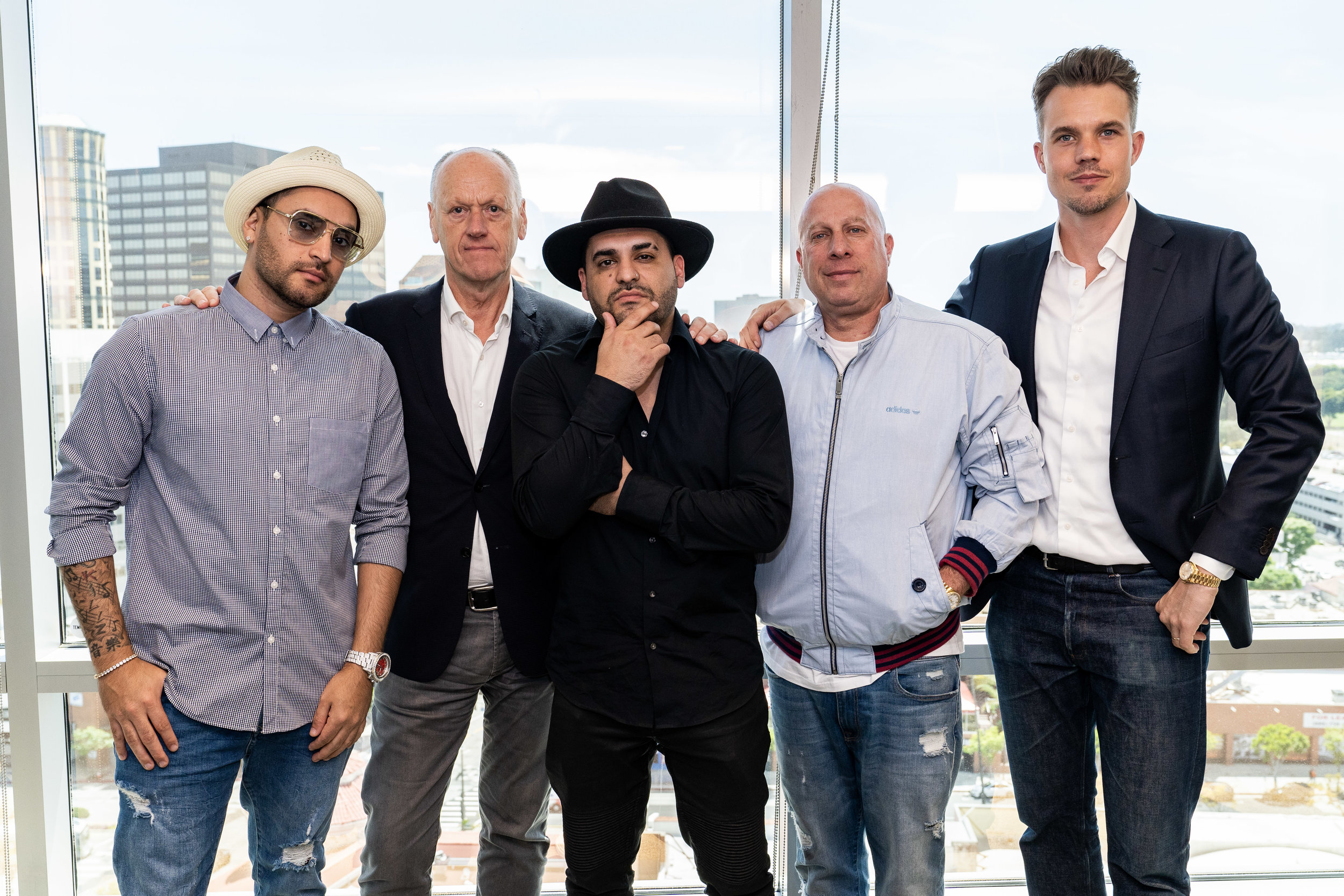 Pictured from left to right:  Oscar Salinas (Play-N-Skillz/Creative Director-CTM Latin), André de Raaff (CEO-CTM), Juan Salinas (Play-N-Skillz/Creative Director-CTM Latin), Steve Lobel and Thomas Deelder (Creative Director-CTM Los Angeles)