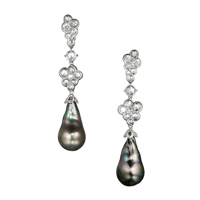 "A beautiful and unique pair of Black Baroque Tahitian Pearls measuring 29x16mm suspended from our 18kt White Gold and Rose Cut Diamond ""Foam"" Drop Earrings #luxury #bespoke #designer #jewellery #luxuryjewelry #melbourne #london #wedding"