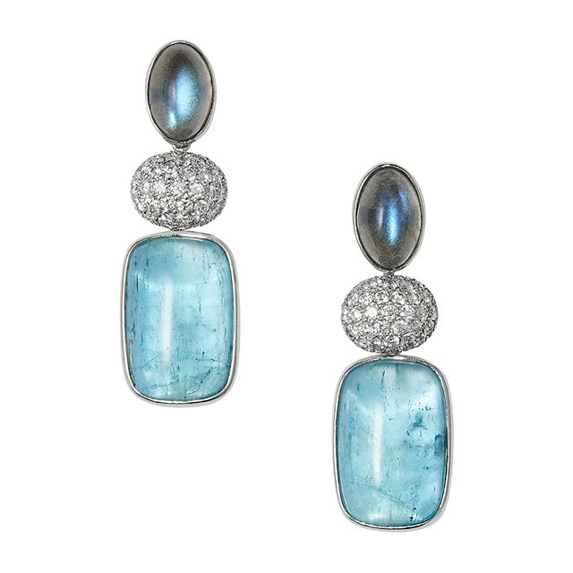 One pair of handmade cabochon labradorite, aquamarine and pave diamond interchangeable earrings mounted in 18kt white gold length total 4.5cm #luxury #bespoke #designer #jewellery #luxuryjewelry #melbourne #london #wedding