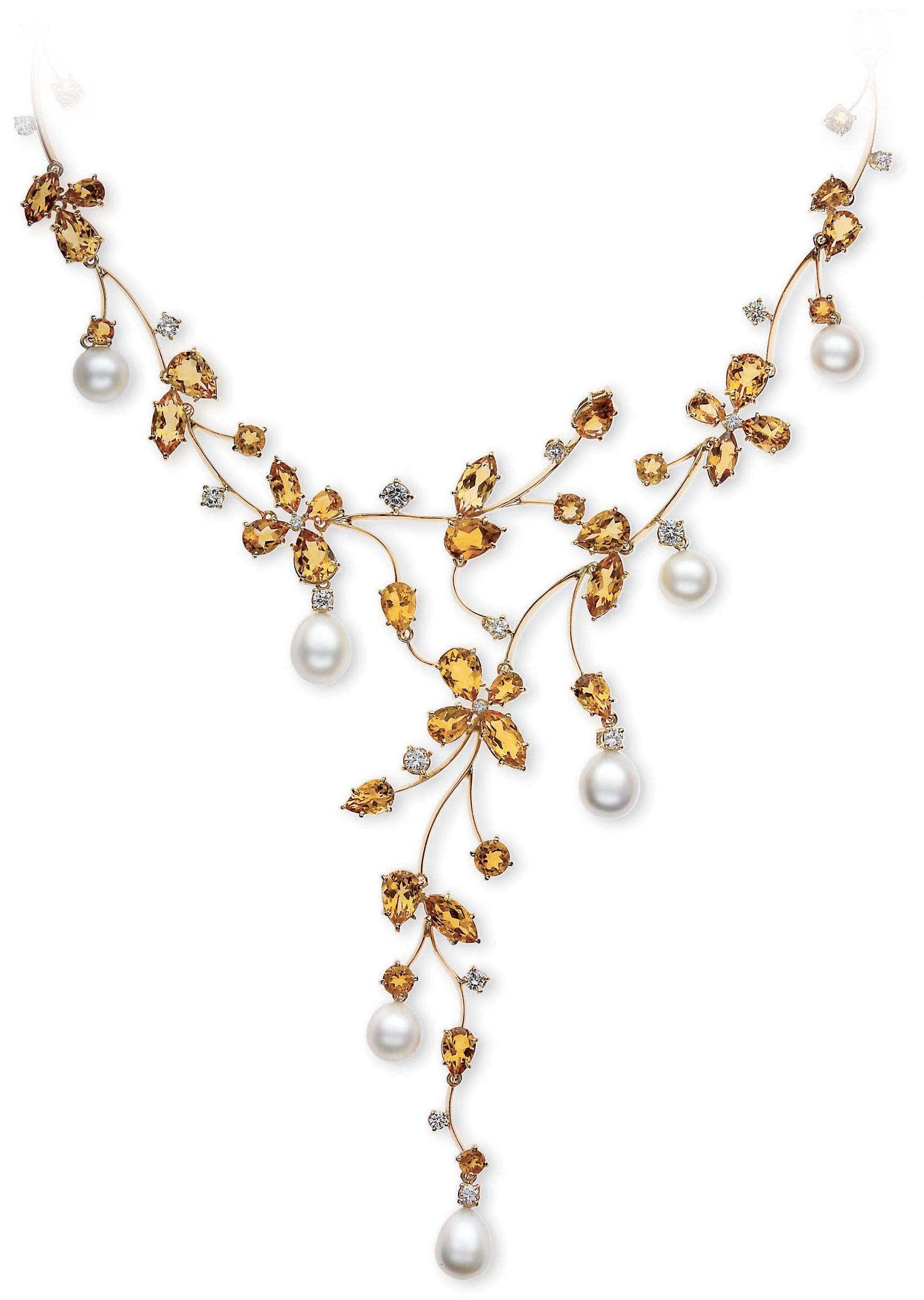 Yellow Gold - Citrine - Diamond - Australian South Sea Pearl