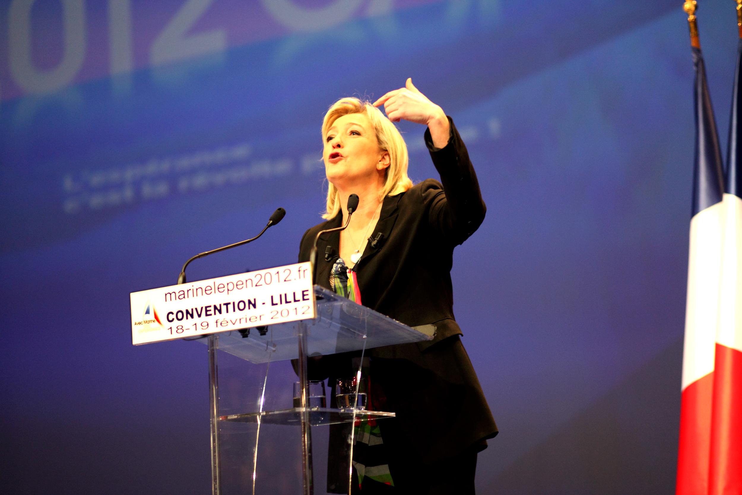 Reportage pendant les présidentielles 2012. Meeting de Marine Le Pen à Lille le 19 février 2012.