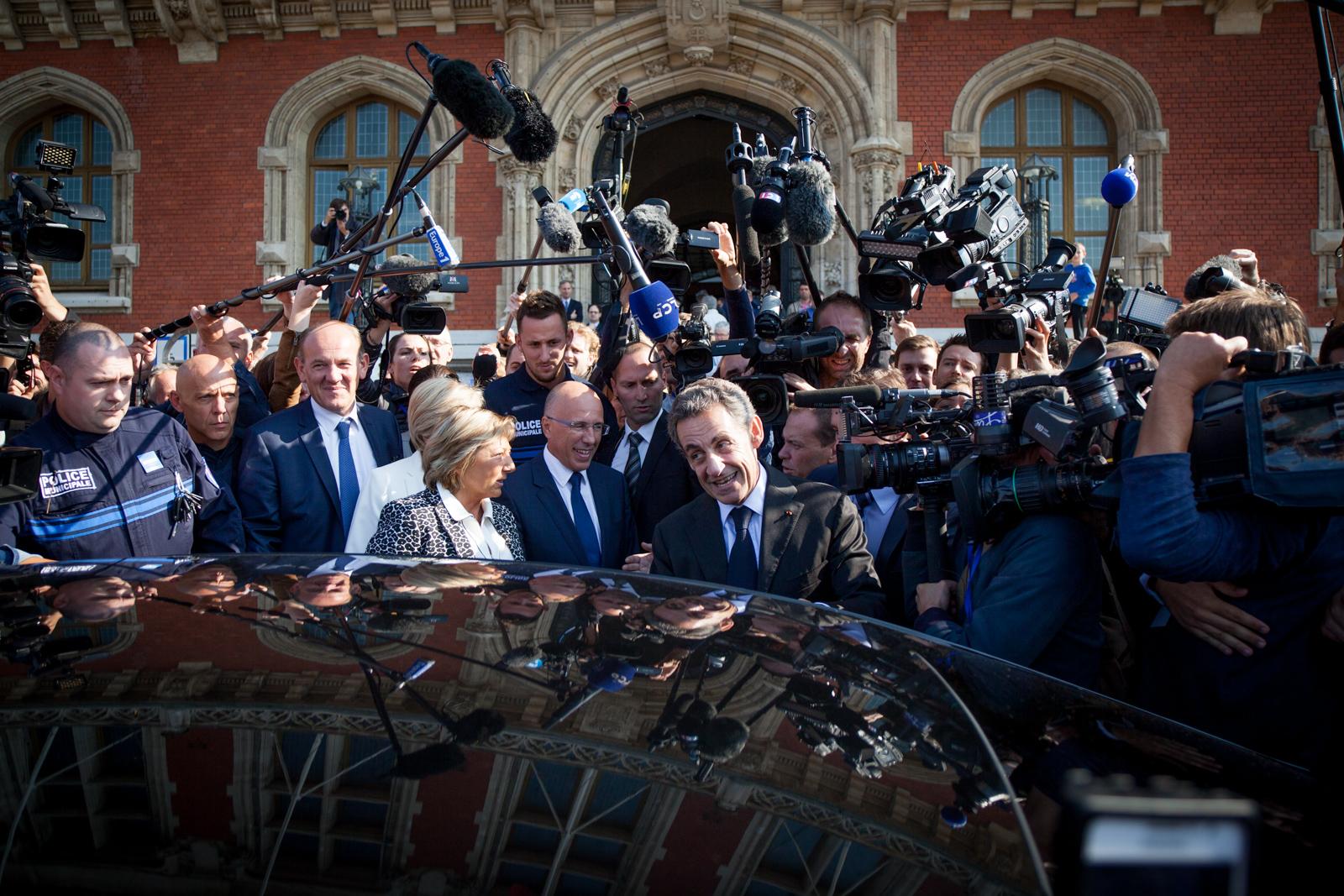 Nicolas Sarkozy lors de son déplacement à Calais en septembre 2016, en campagne pour la primaire des Républicains, qu'il perdra.