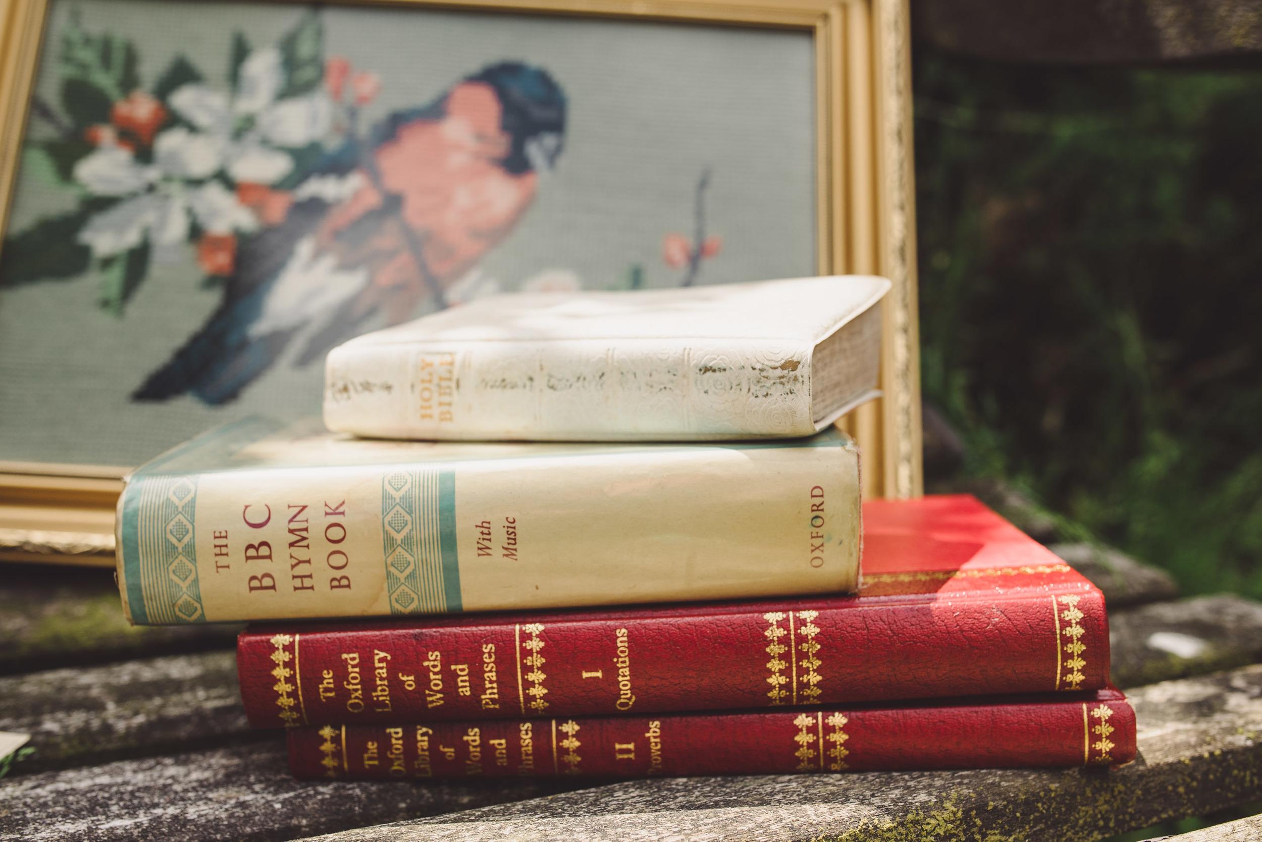 Vintage Books Props provided by: Bespoke Vintage Castle                                Photo Credit: Becky Ryan Photography