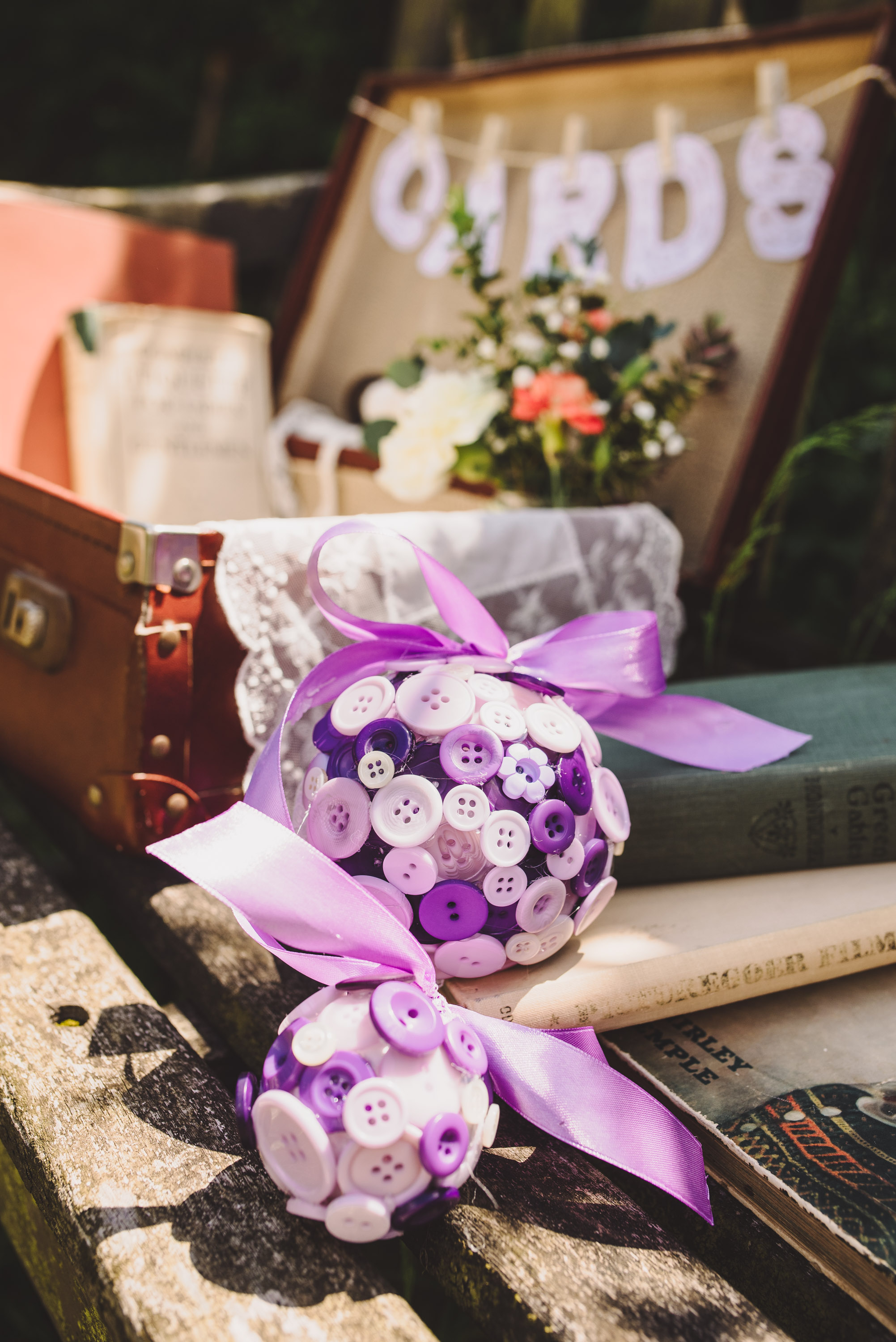Purple Button Bouquet handmade by: Bespoke Vintage Castle                                              Photo Credit: Becky Ryan Photography