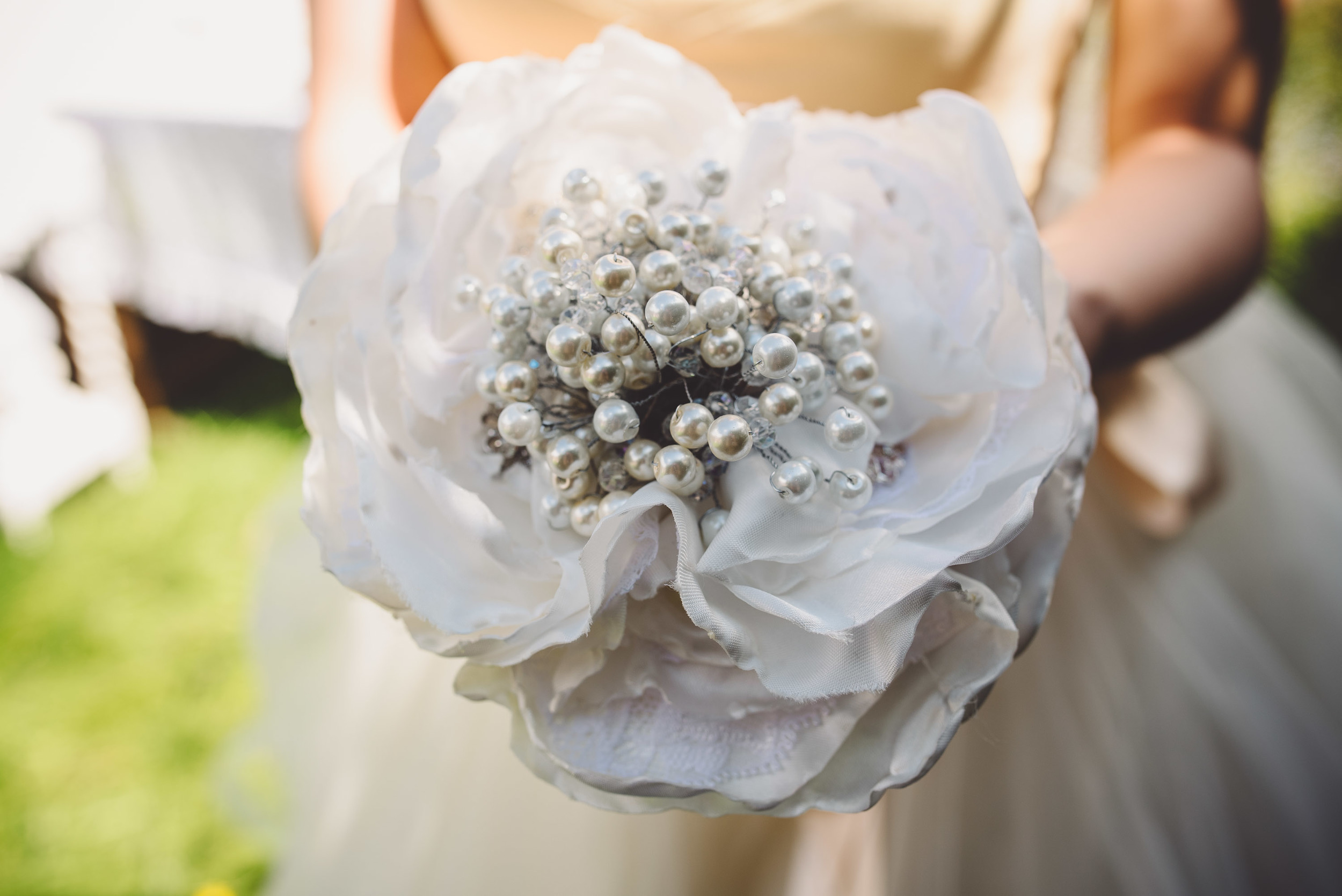 Single Flower Fabric Bouquet: Bespoke Vintage Castle                                                         Photo Credit: Becky Ryan Photography