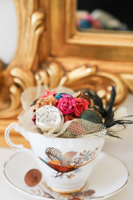 Our vintage bone china tea cups are decadent and filled with handmade treasures perfect gift for Bridesmaids, Mother of the Bride, centrepieces or just something sweet for you to keep