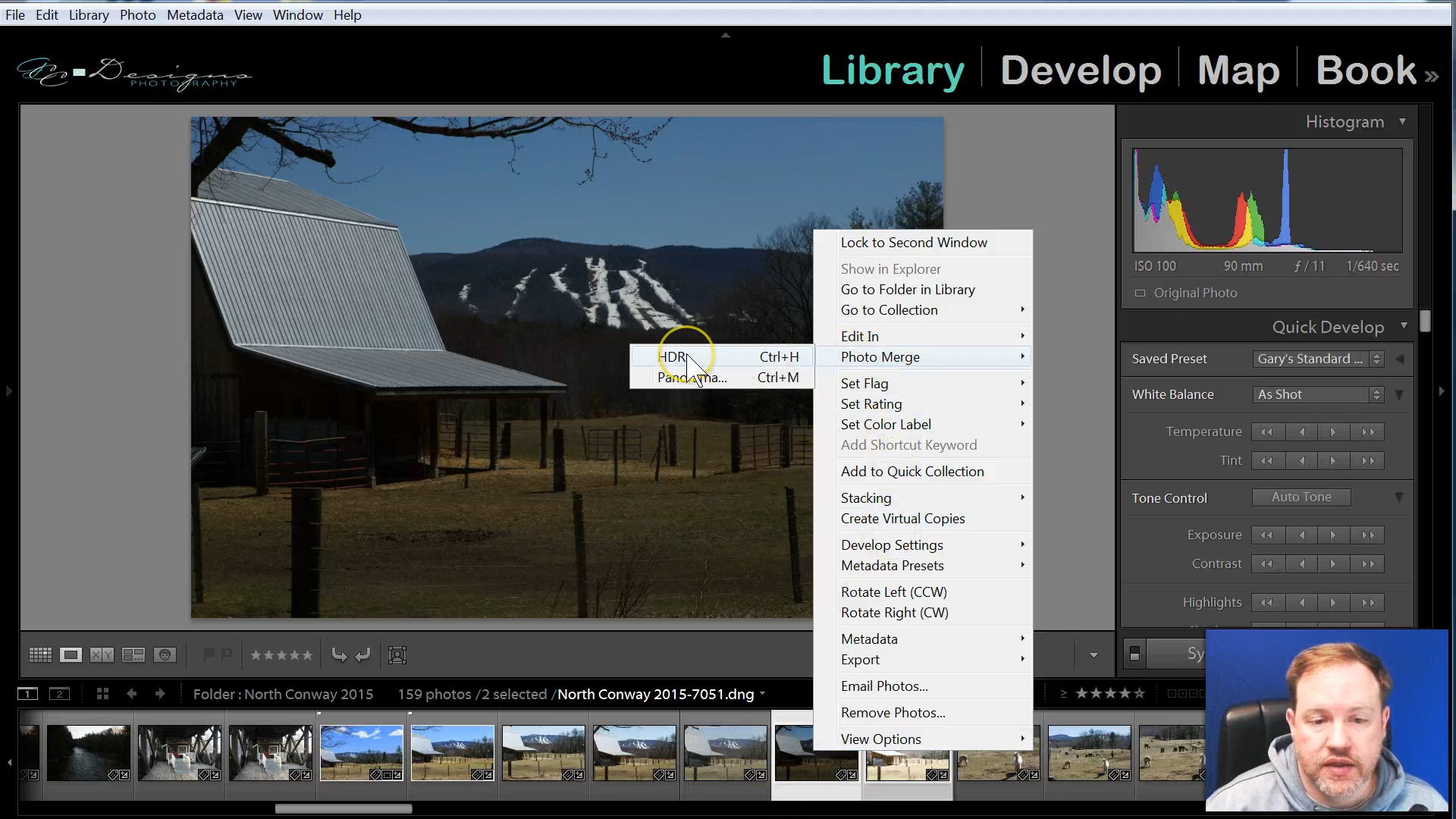Highlight the images needed for the HDR. Right click on them (Ctrl+H) >Photo Merge>HDR