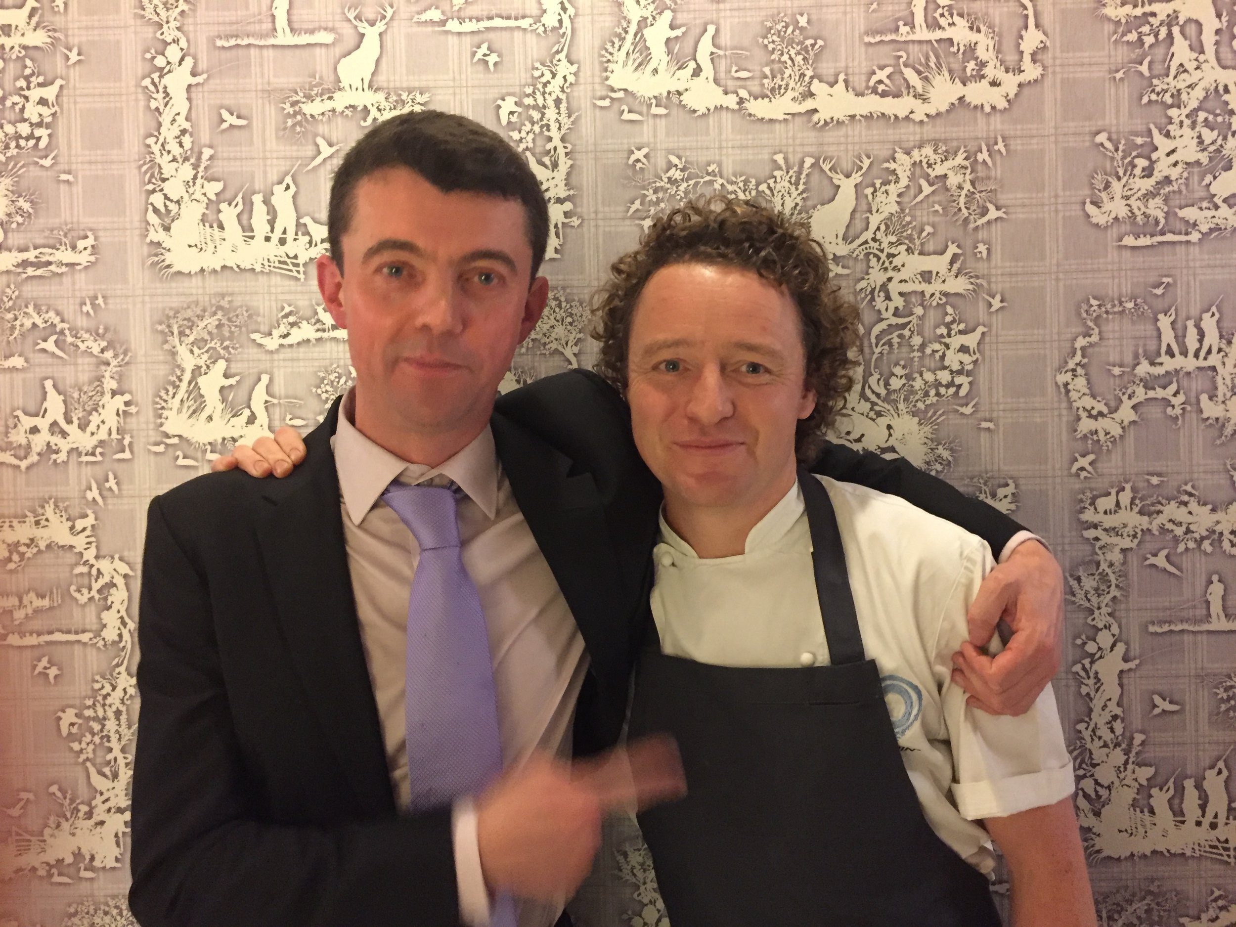 Tom with chocolatier  William Curley , who created special chocolates for #KitchinAtHarrods pop-up. Check the  Timorous Beasties  wallpaper, recreating  The Kitchin