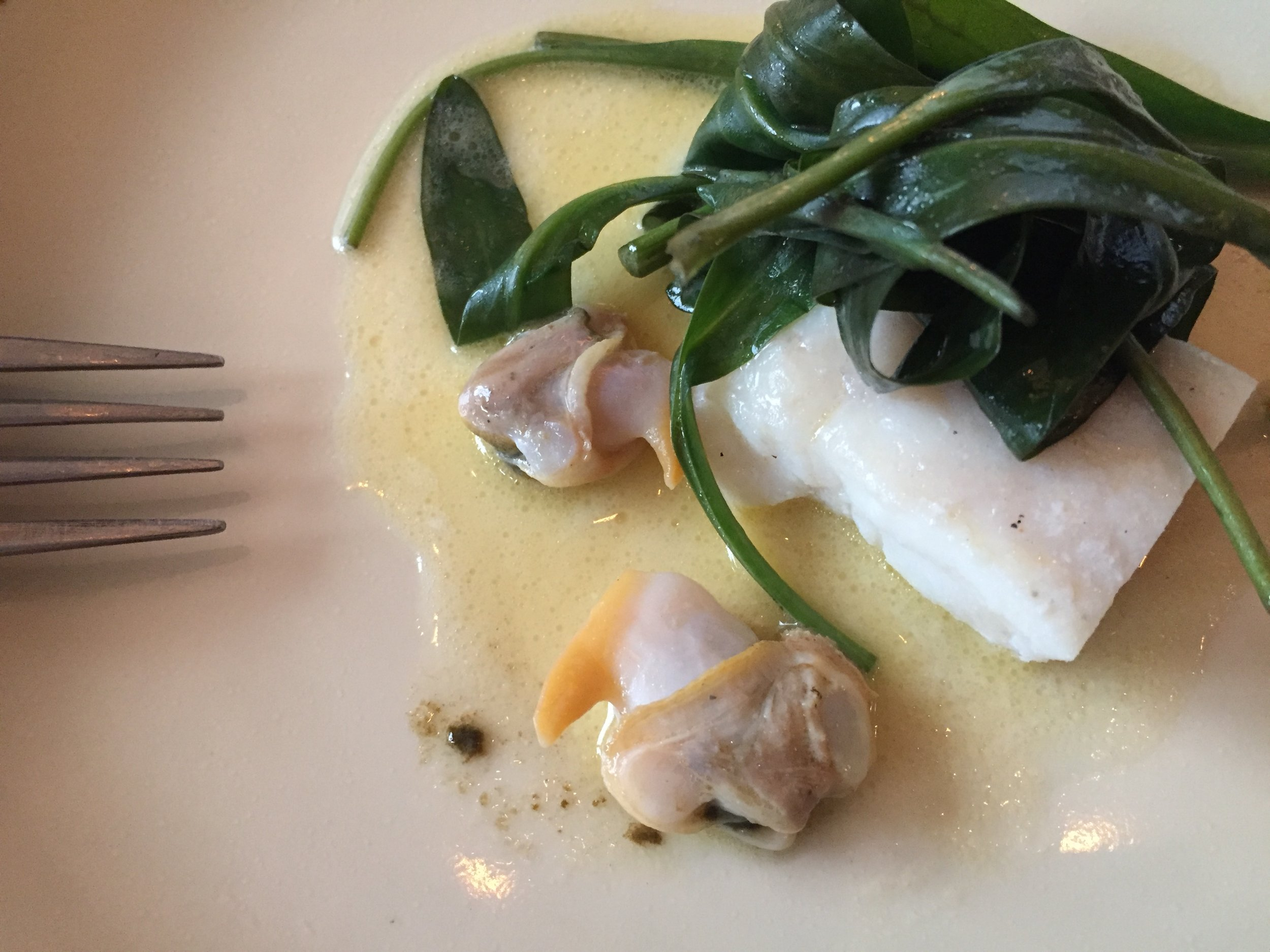 Look at the size of that Barra cockle - teamed here with Shetland turbot and sea aster in an elderflower butter!