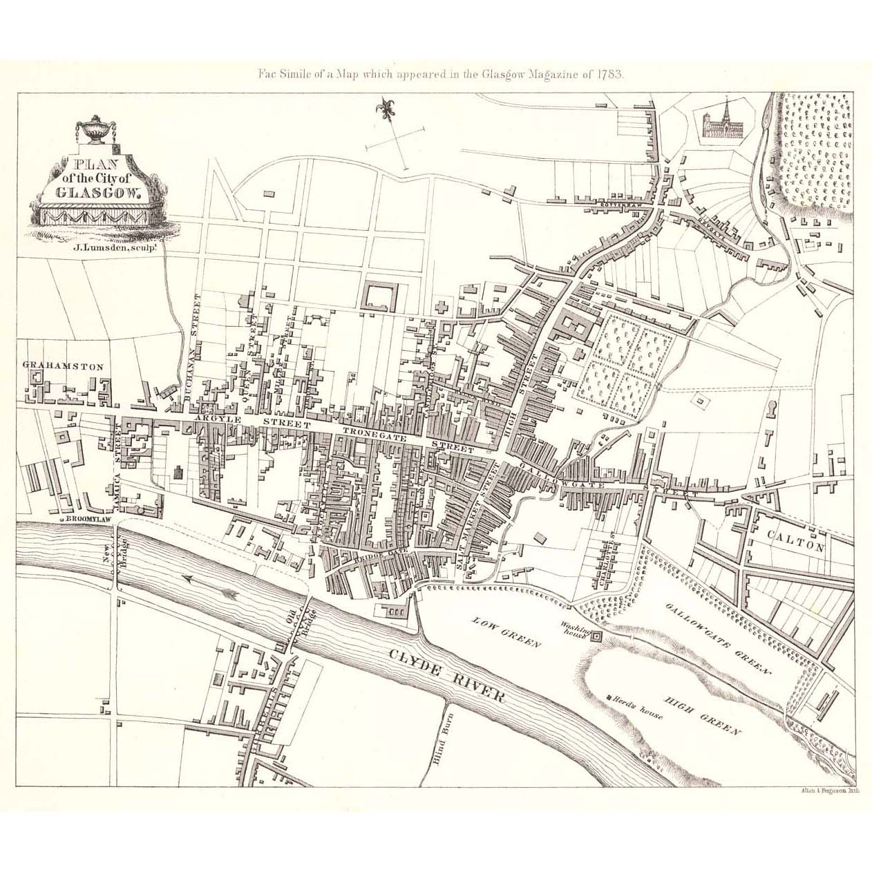 A map of Glasgow from 1783, courtesy    Britton Images   , showing Grahamston to the far west of the emerging city. You can see how unpopulated it was then, and so close to both the River Clyde and the eventual site of Glasgow Central.